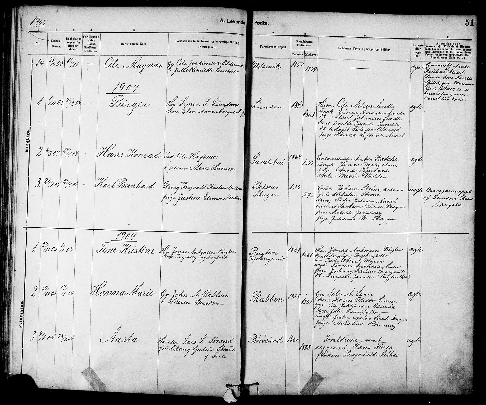 SAT, Ministerialprotokoller, klokkerbøker og fødselsregistre - Sør-Trøndelag, 639/L0573: Klokkerbok nr. 639C01, 1890-1905, s. 51