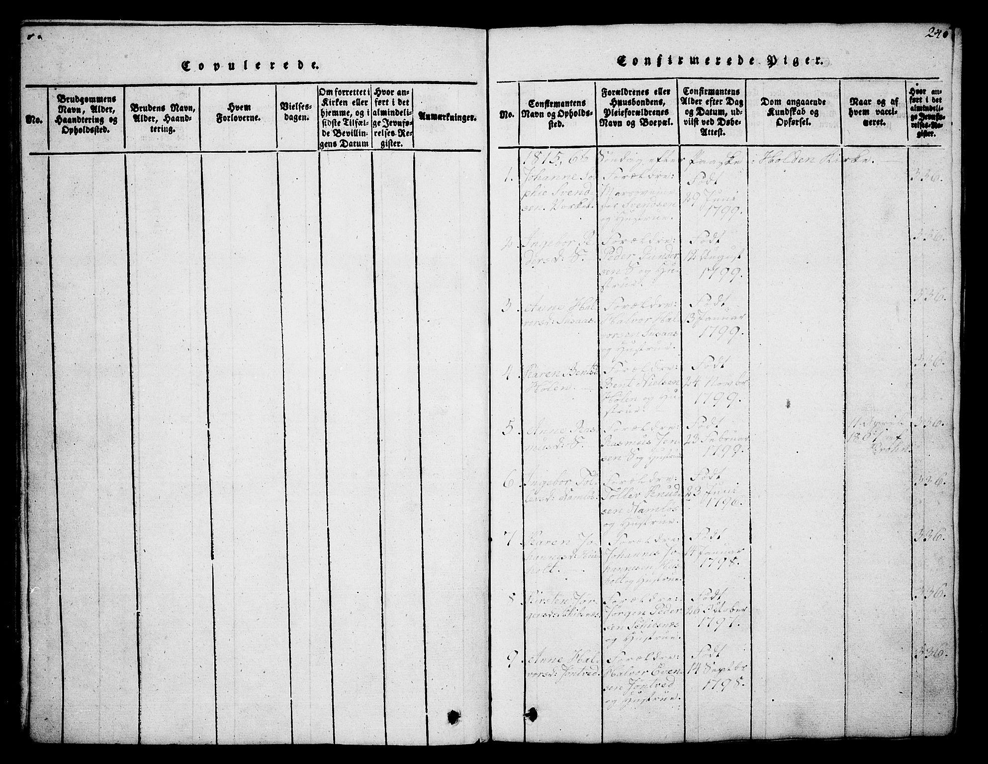 SAKO, Holla kirkebøker, G/Ga/L0001: Klokkerbok nr. I 1, 1814-1830, s. 240