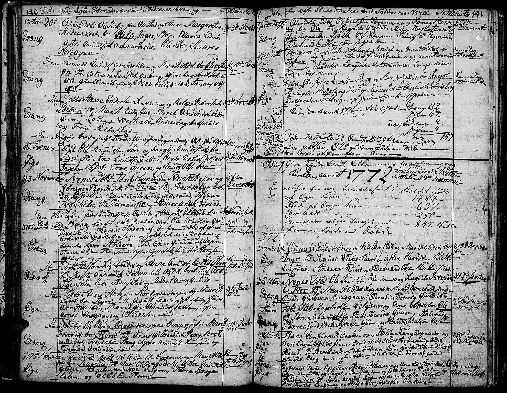 SAH, Aurdal prestekontor, Ministerialbok nr. 5, 1763-1781, s. 140-141