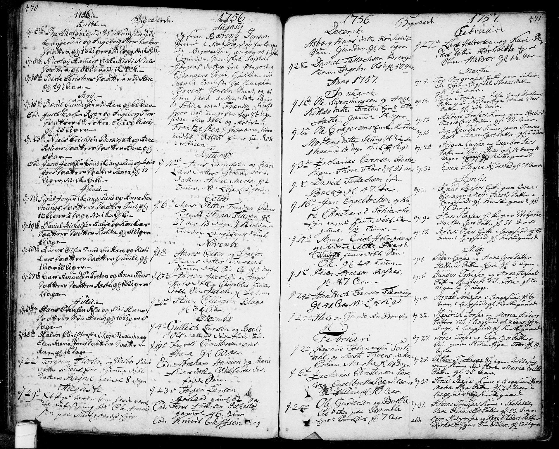 SAKO, Bamble kirkebøker, F/Fa/L0001: Ministerialbok nr. I 1, 1702-1774, s. 470-471