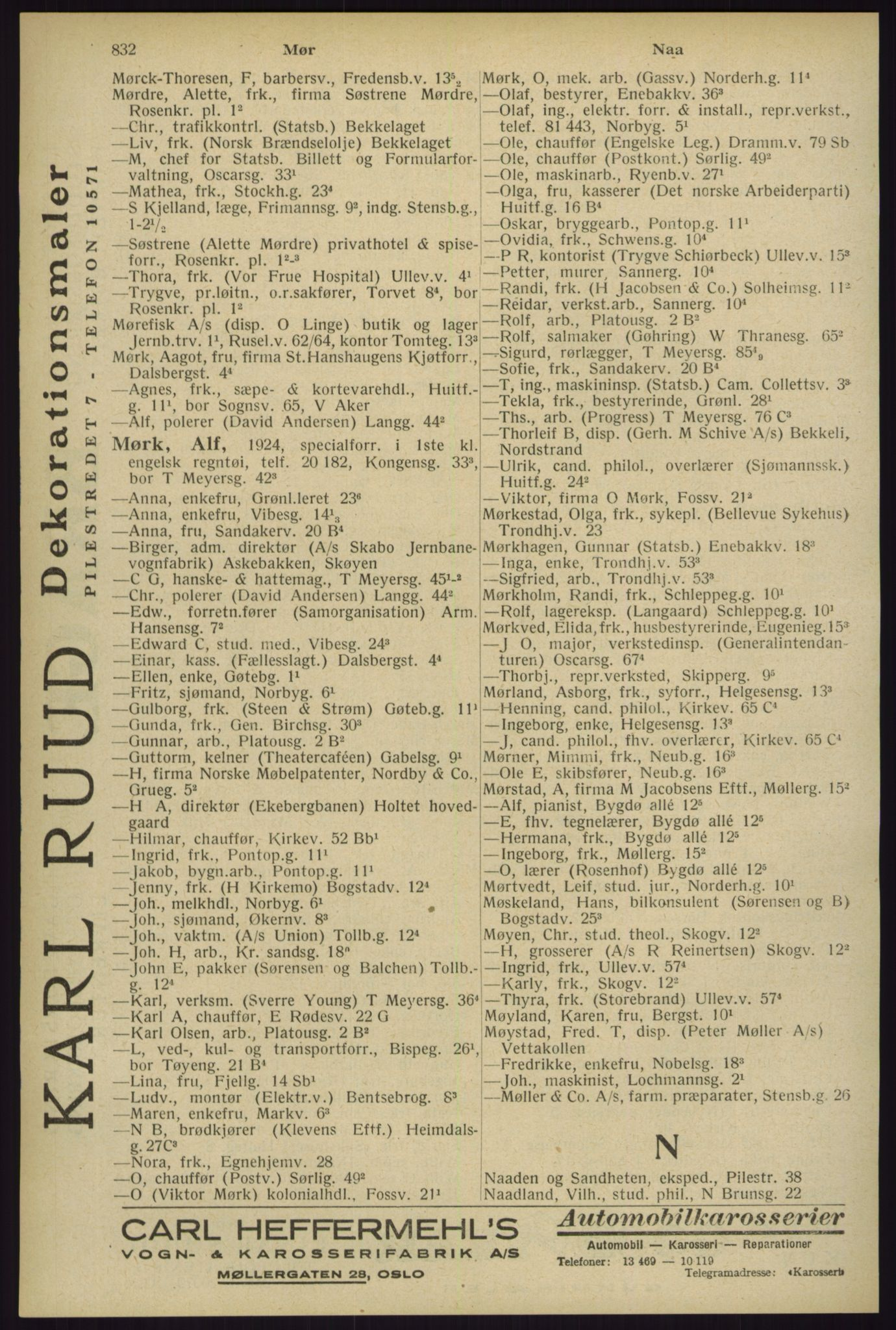 RA, Oslo adressebok (publikasjon)*, 1929, s. 832
