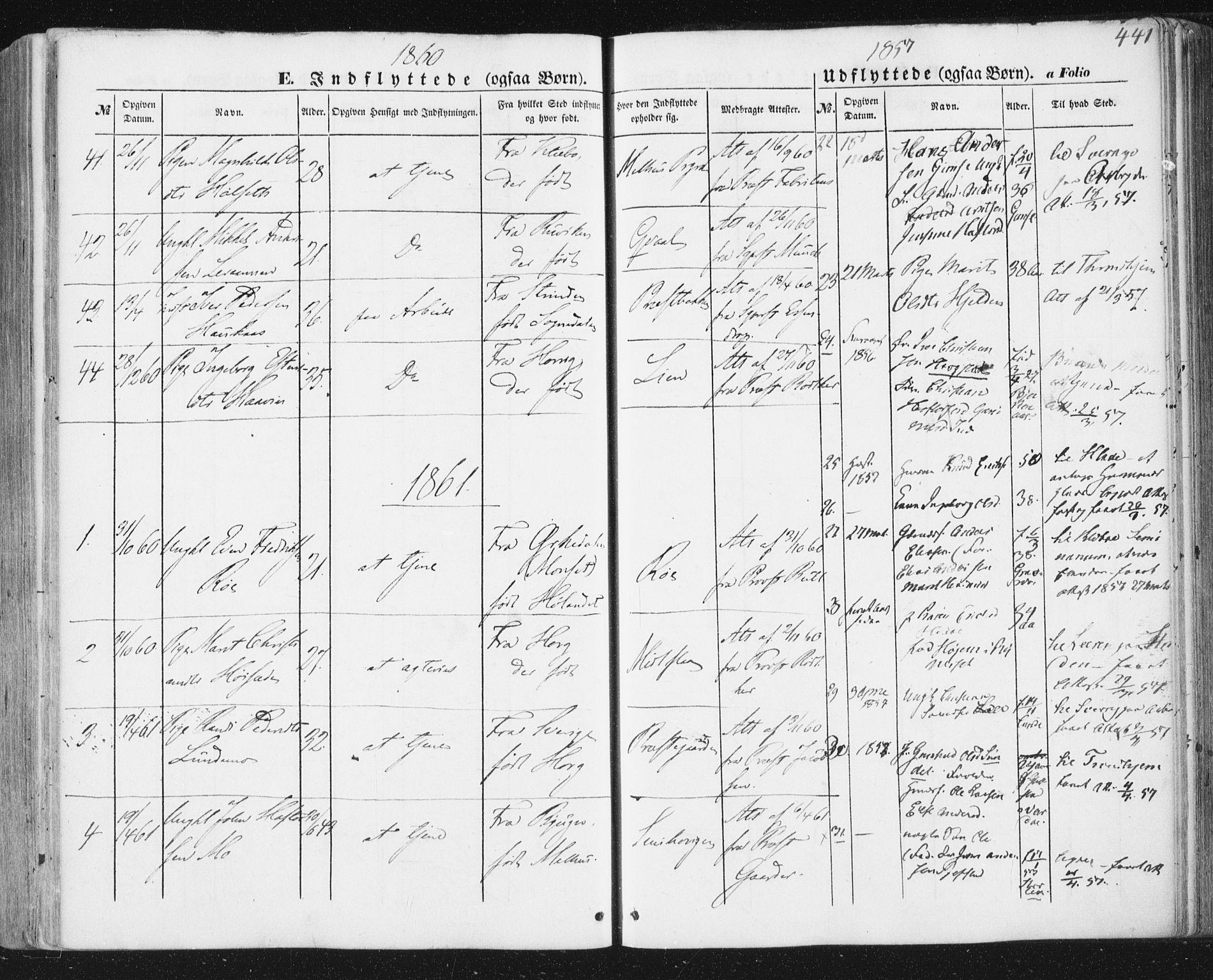 SAT, Ministerialprotokoller, klokkerbøker og fødselsregistre - Sør-Trøndelag, 691/L1076: Ministerialbok nr. 691A08, 1852-1861, s. 441