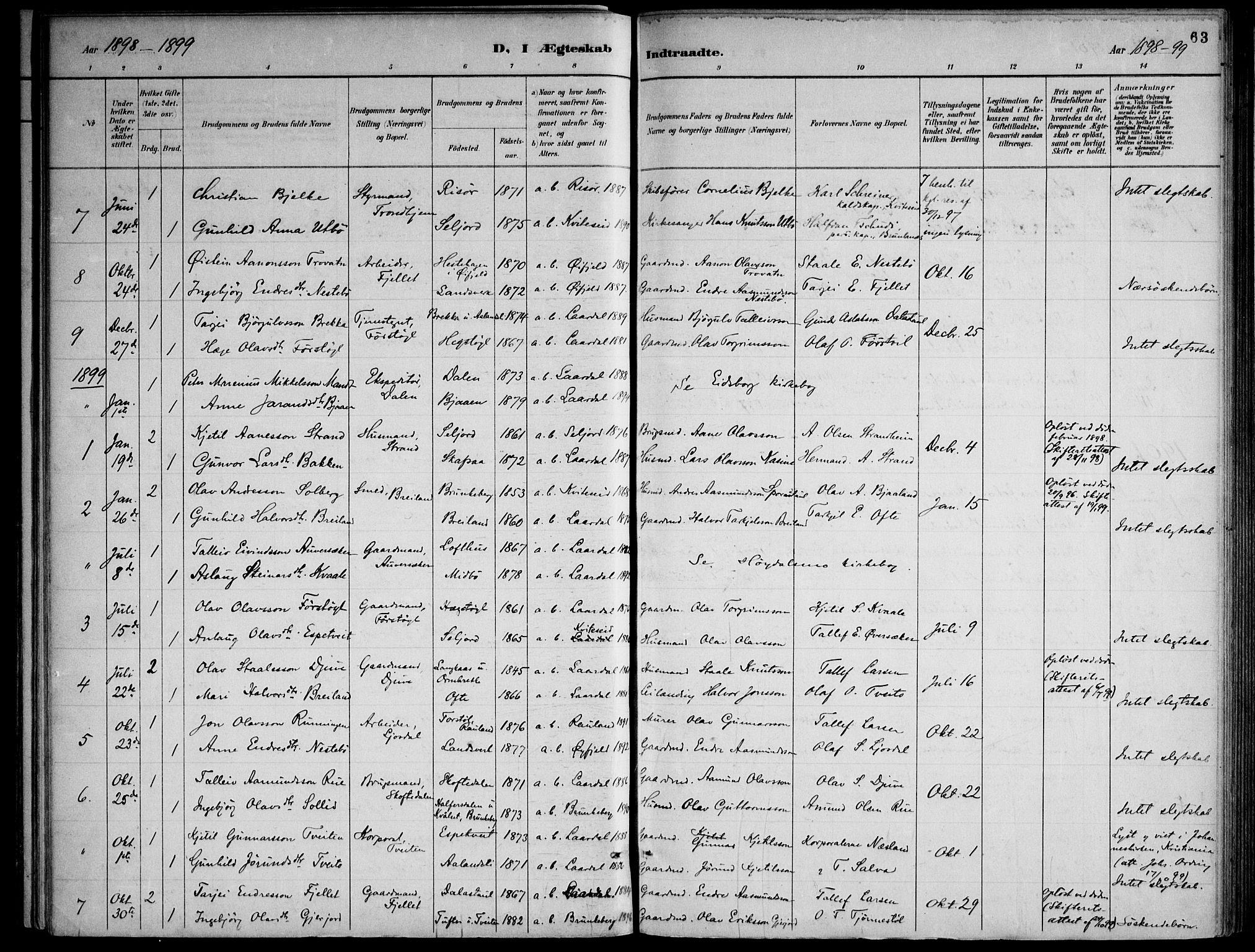 SAKO, Lårdal kirkebøker, F/Fa/L0007: Ministerialbok nr. I 7, 1887-1906, s. 63