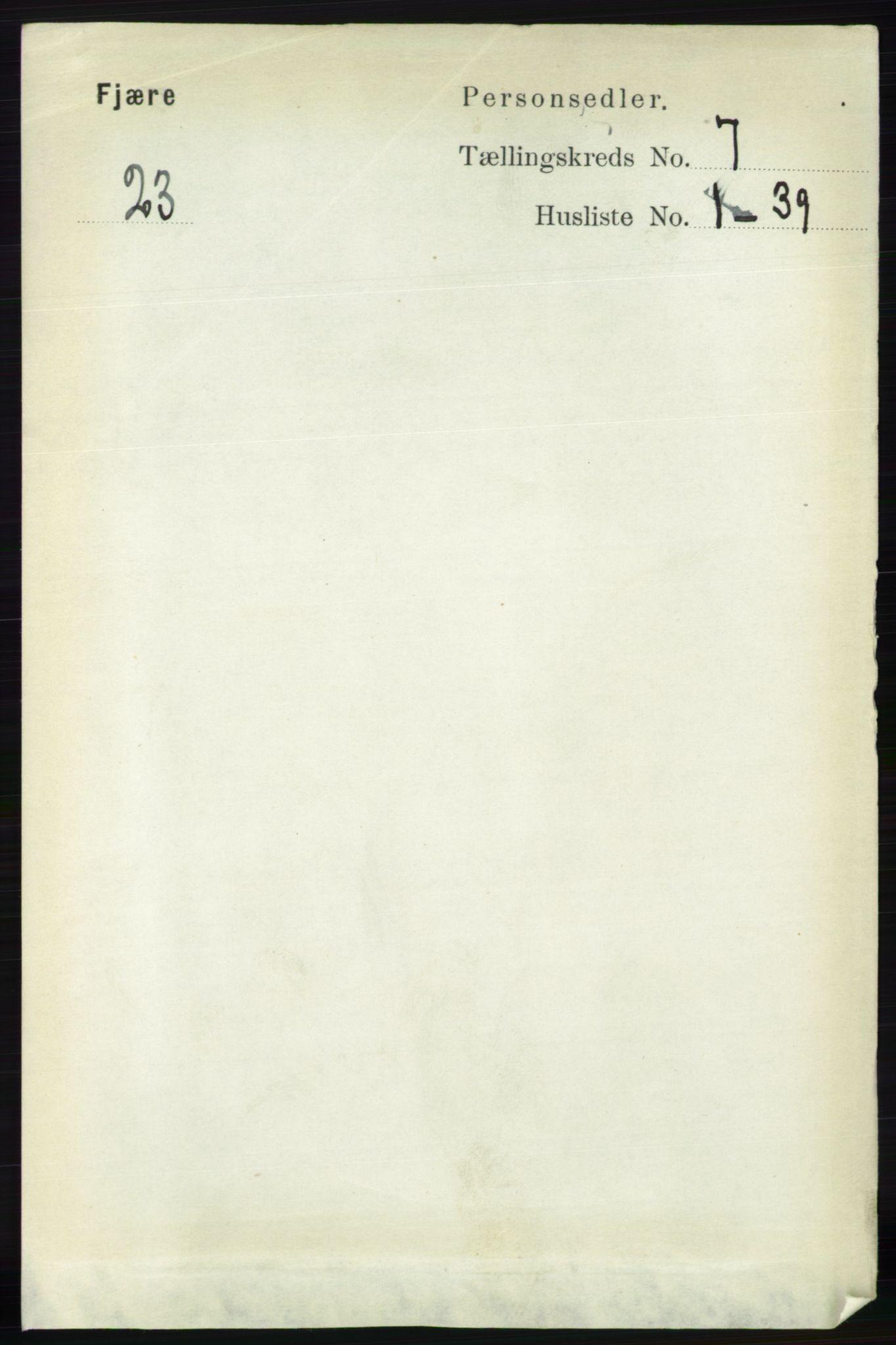 RA, Folketelling 1891 for 0923 Fjære herred, 1891, s. 3202