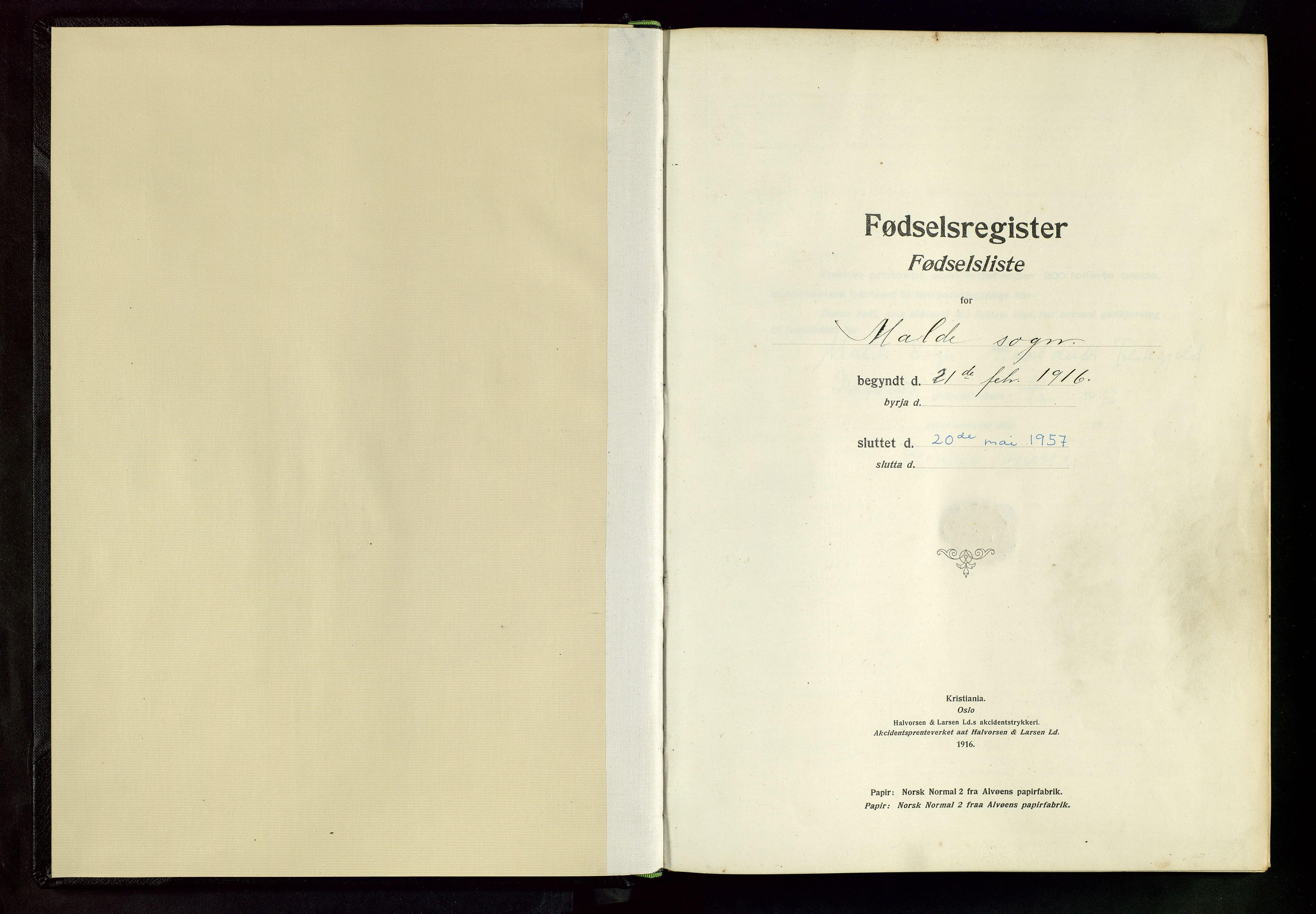 SAST, Håland sokneprestkontor, A/L0005: Fødselsregister nr. 5, 1916-1957
