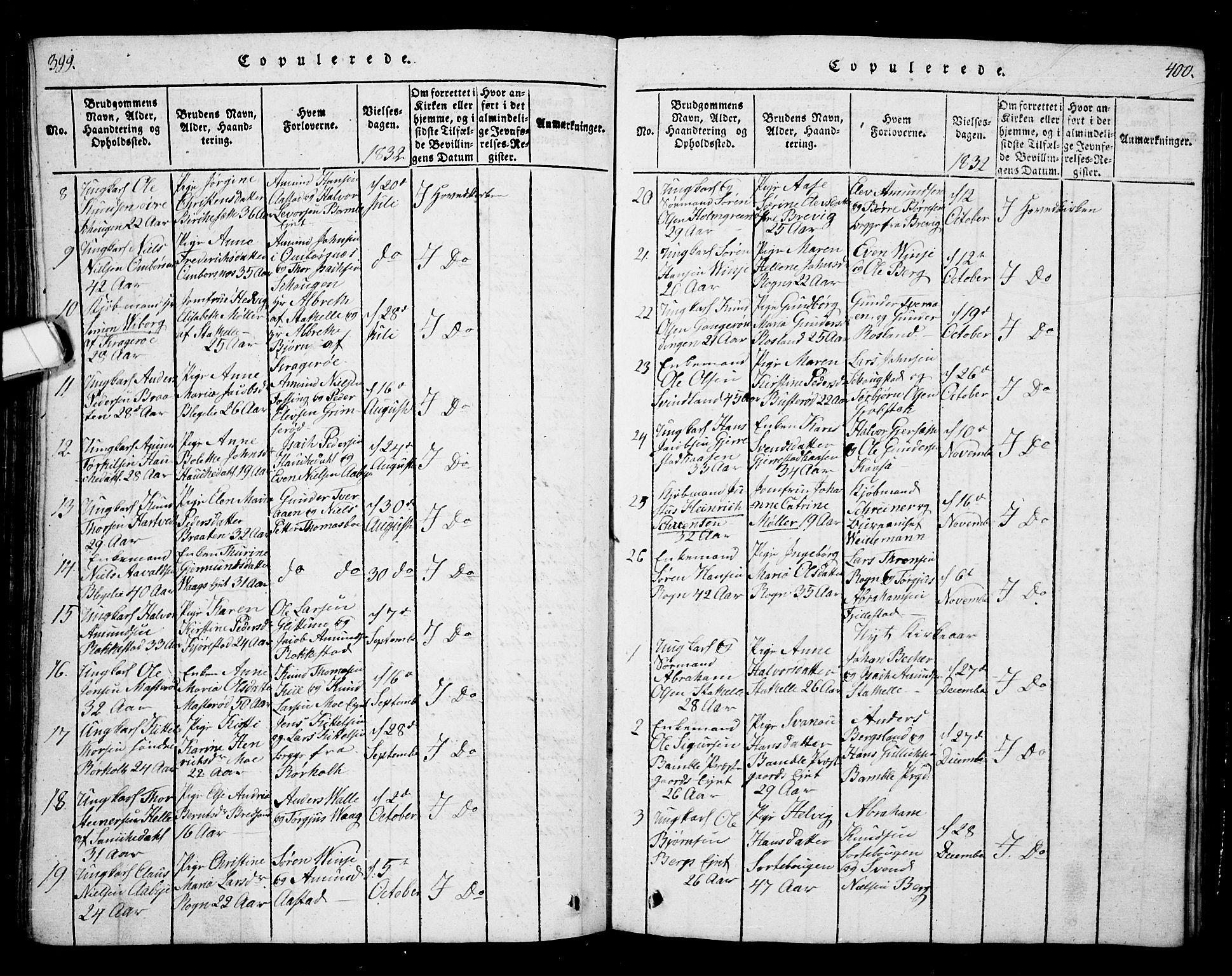 SAKO, Bamble kirkebøker, G/Ga/L0005: Klokkerbok nr. I 5, 1814-1855, s. 399-400