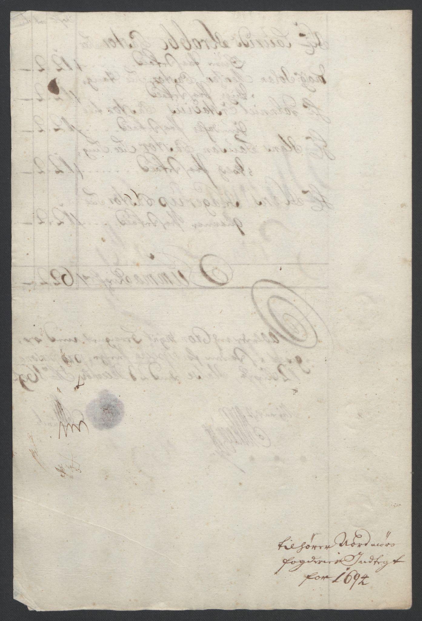 RA, Rentekammeret inntil 1814, Reviderte regnskaper, Fogderegnskap, R56/L3736: Fogderegnskap Nordmøre, 1694-1696, s. 112