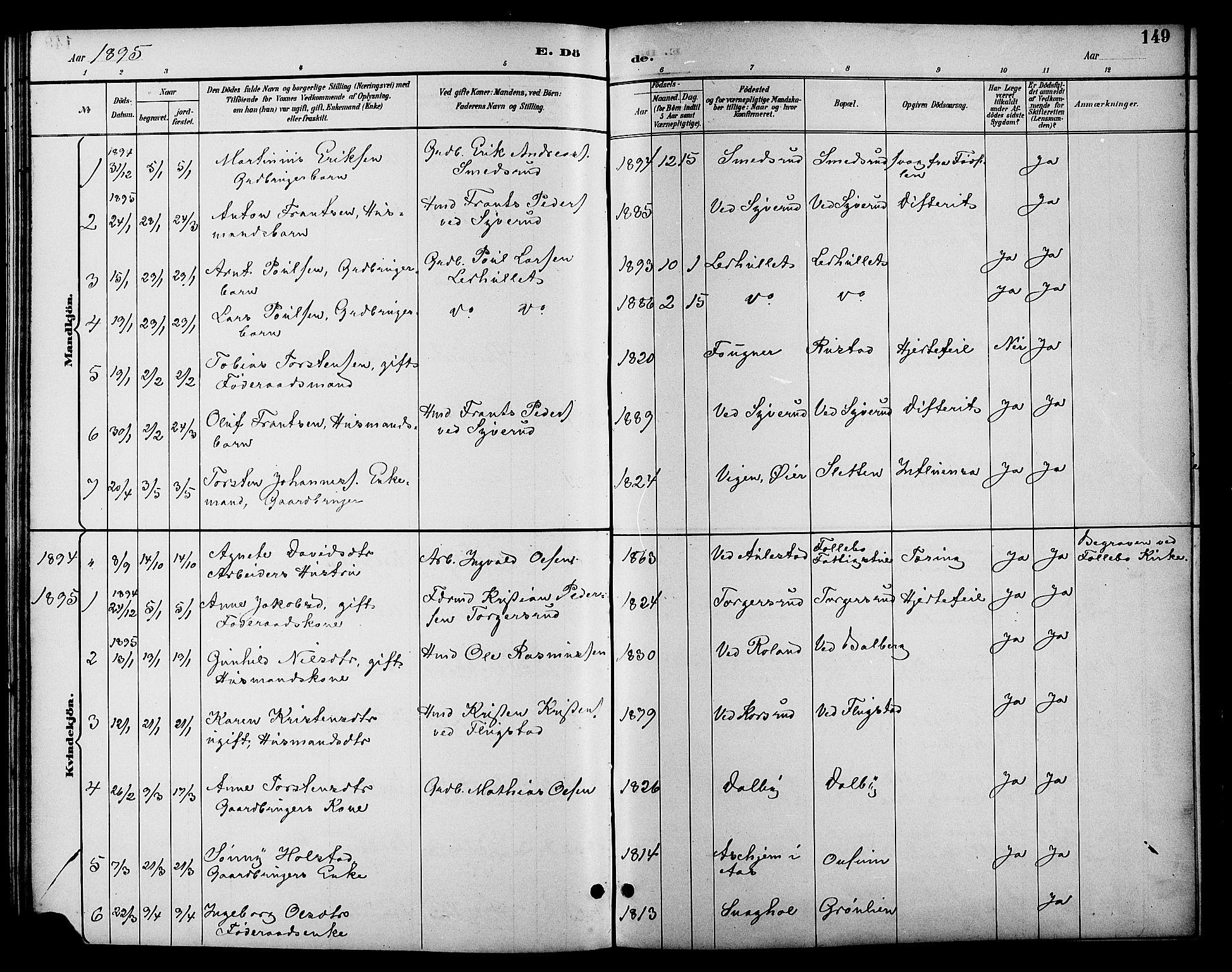 SAH, Fåberg prestekontor, Klokkerbok nr. 10, 1892-1900, s. 149