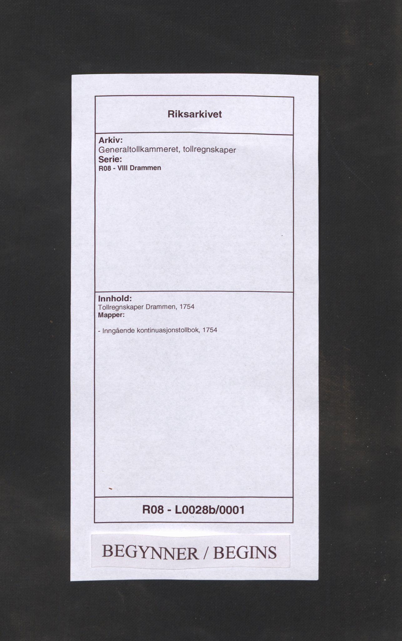 RA, Generaltollkammeret, tollregnskaper, R08/L0028b: Tollregnskaper Drammen, 1754