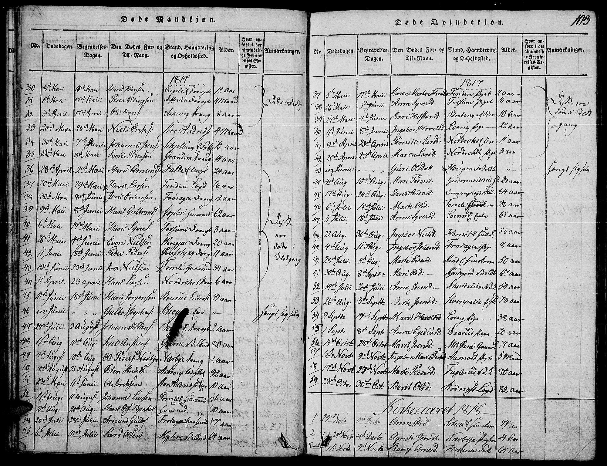 SAH, Land prestekontor, Ministerialbok nr. 7, 1814-1830, s. 103