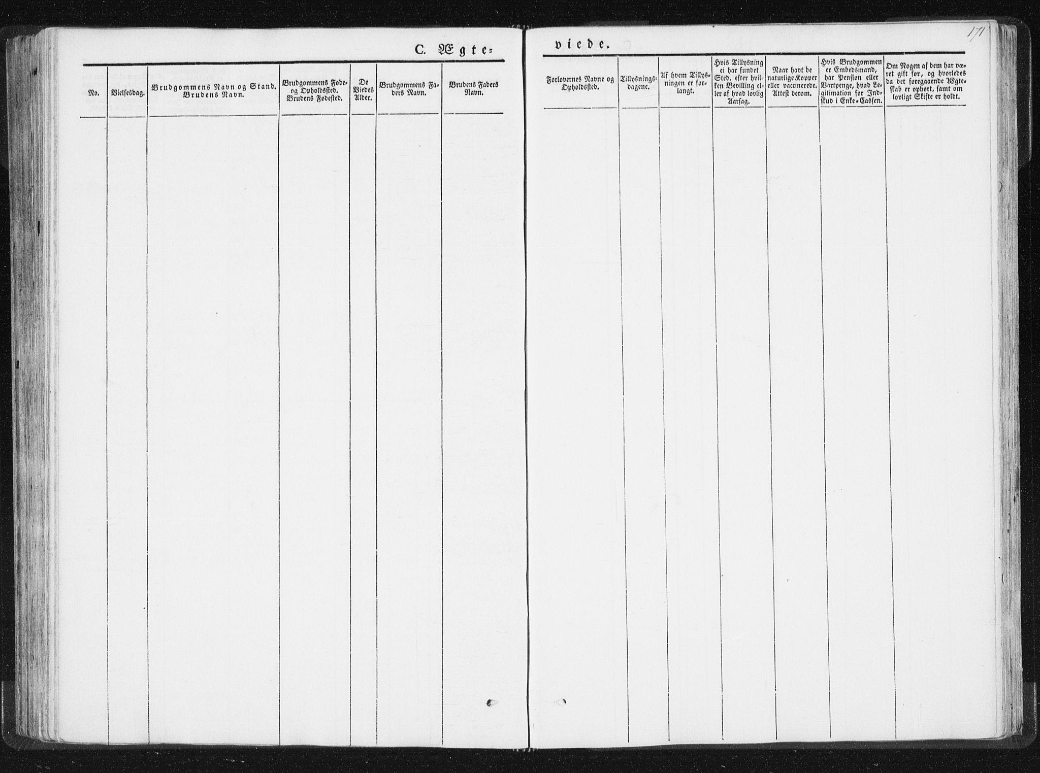 SAT, Ministerialprotokoller, klokkerbøker og fødselsregistre - Nord-Trøndelag, 744/L0418: Ministerialbok nr. 744A02, 1843-1866, s. 171