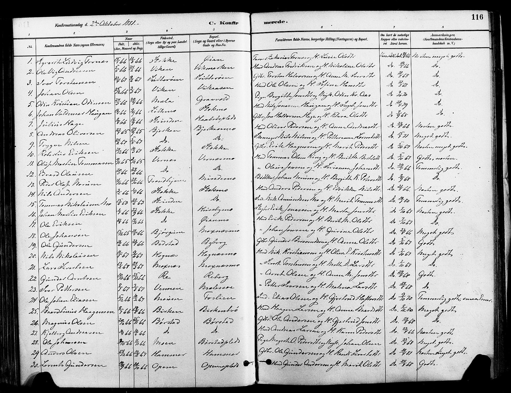 SAT, Ministerialprotokoller, klokkerbøker og fødselsregistre - Nord-Trøndelag, 709/L0077: Ministerialbok nr. 709A17, 1880-1895, s. 116