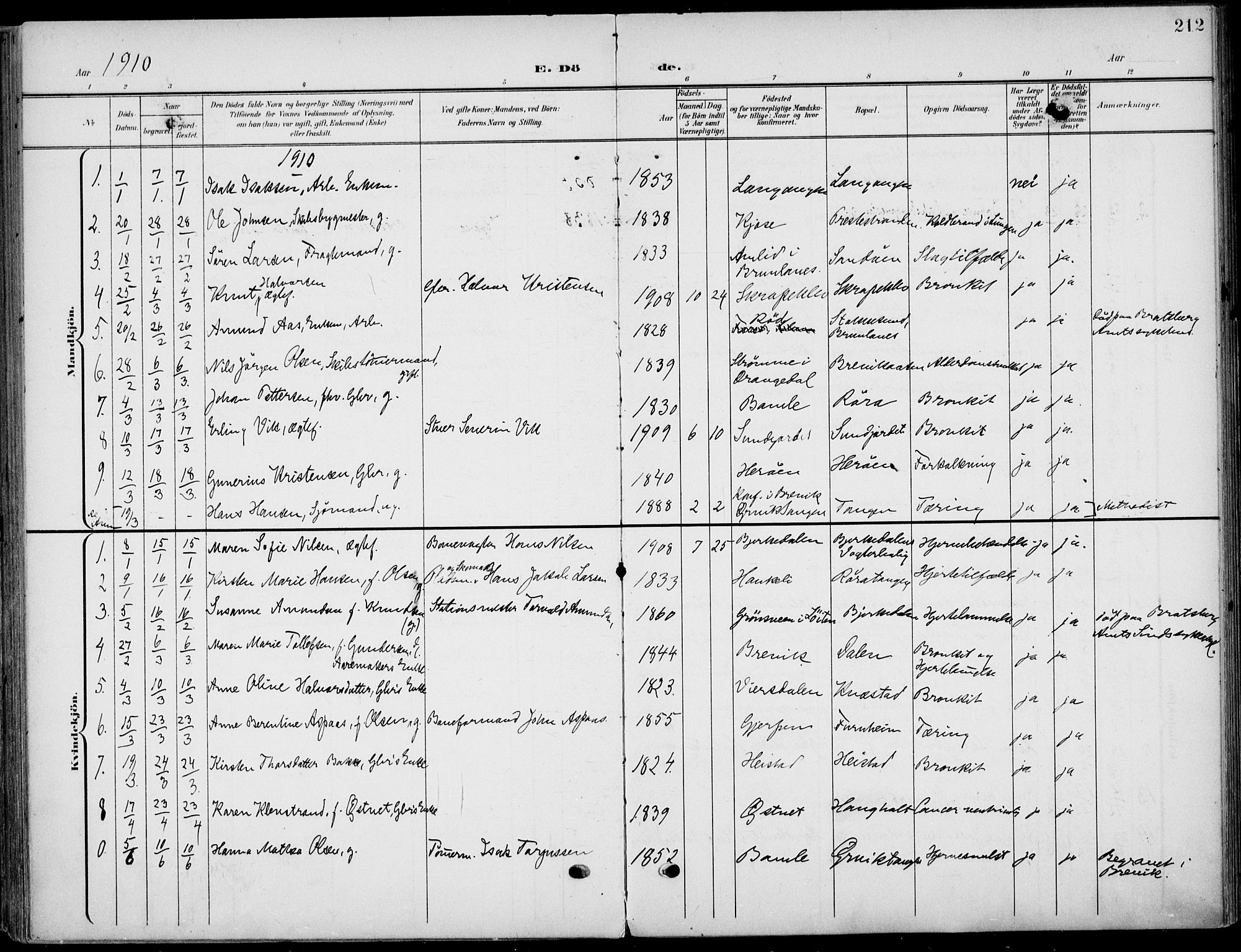 SAKO, Eidanger kirkebøker, F/Fa/L0013: Ministerialbok nr. 13, 1900-1913, s. 212