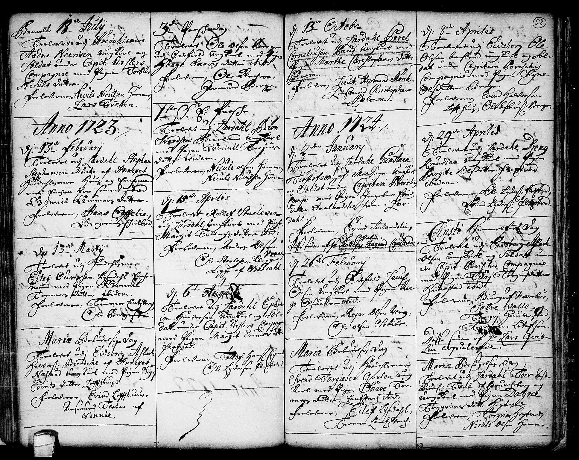 SAKO, Lårdal kirkebøker, F/Fa/L0001: Ministerialbok nr. I 1, 1721-1734, s. 58