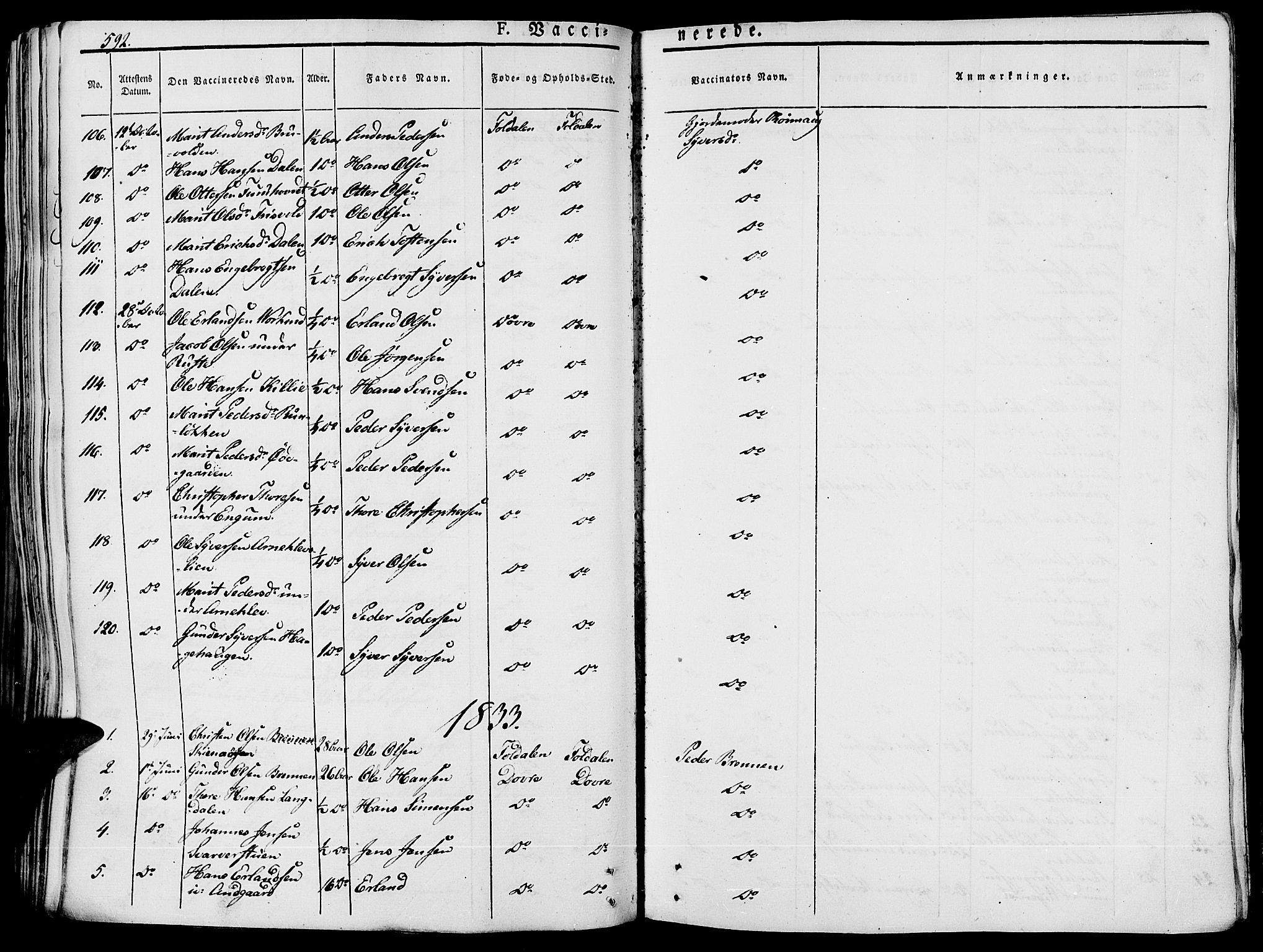 SAH, Lesja prestekontor, Ministerialbok nr. 5, 1830-1842, s. 592
