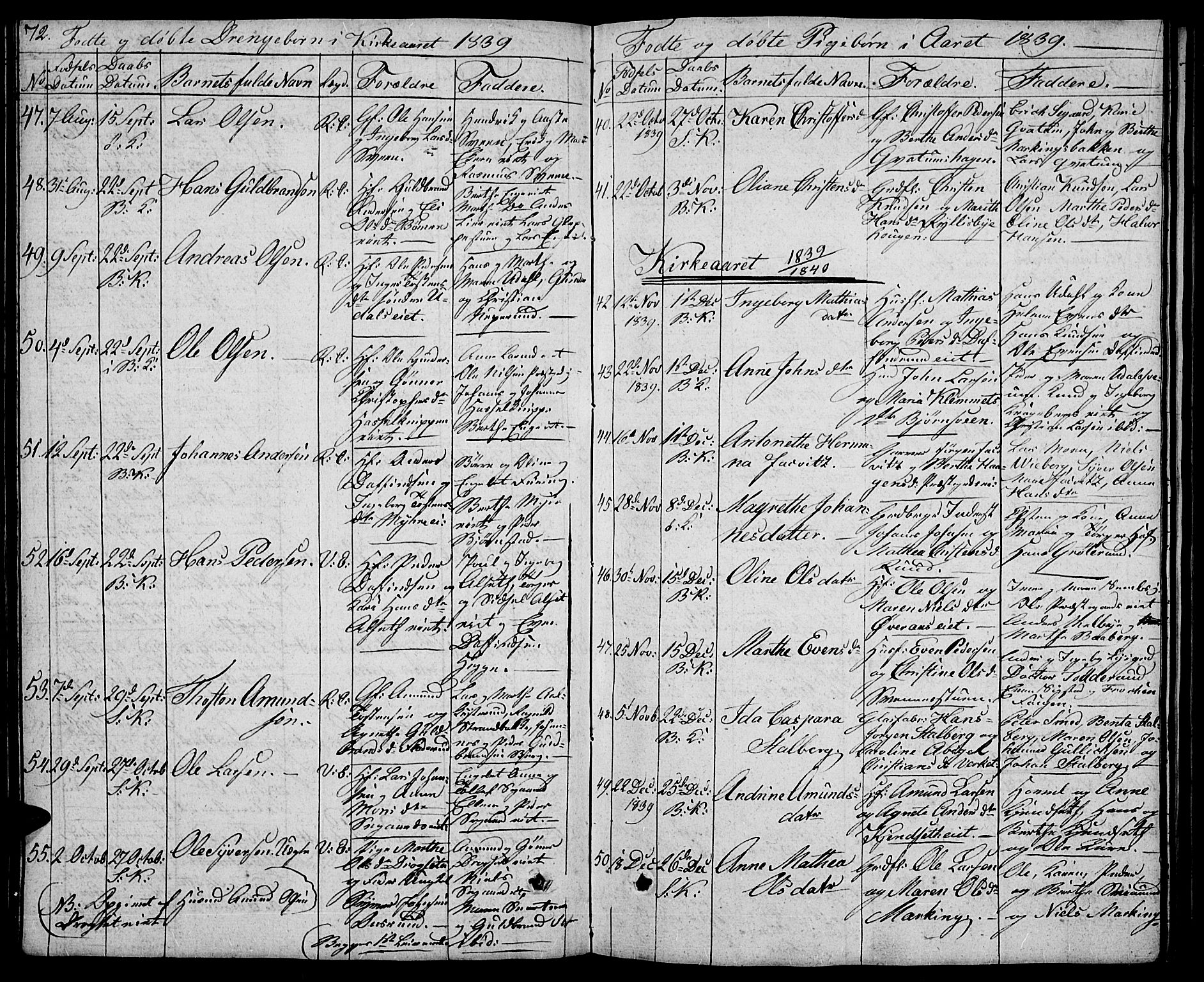 SAH, Biri prestekontor, Klokkerbok nr. 2, 1828-1842, s. 72