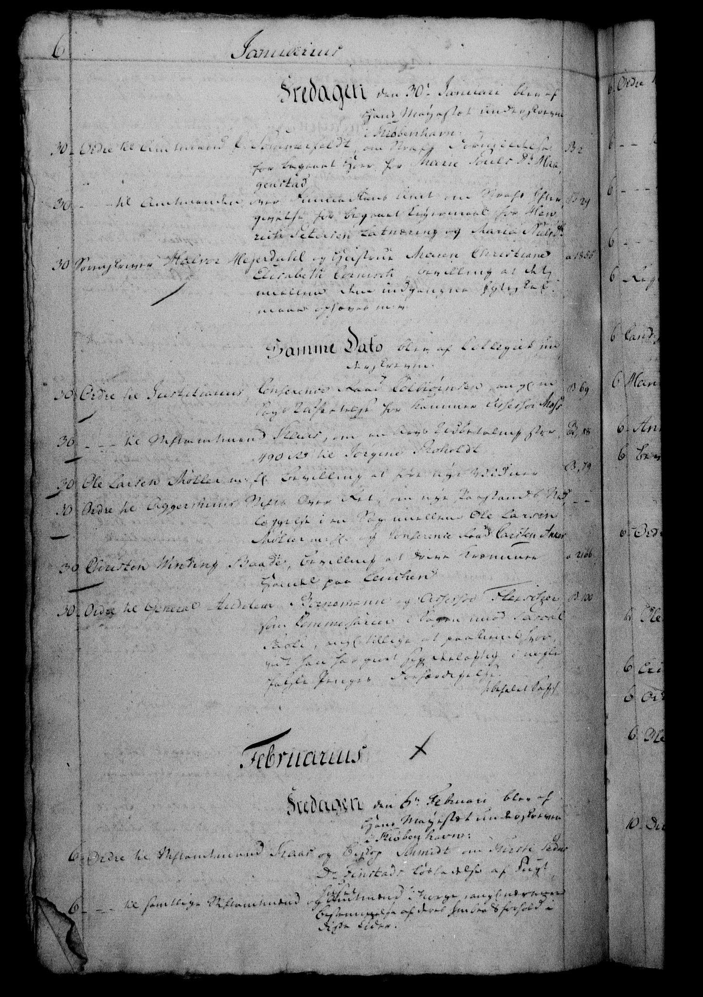 RA, Danske Kanselli 1800-1814, H/Hf/Hfb/Hfbc/L0002: Underskrivelsesbok m. register, 1801, s. 6