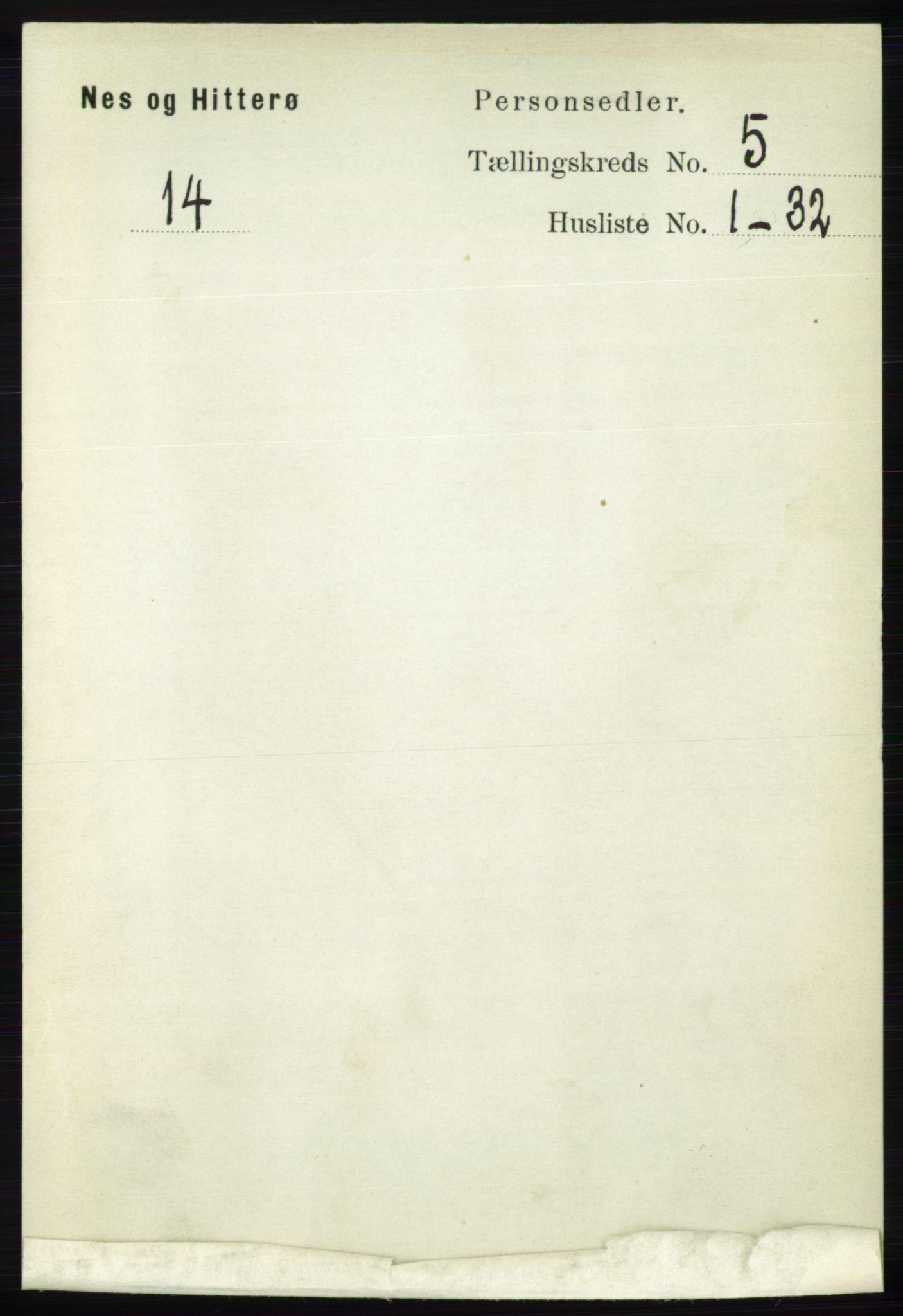 RA, Folketelling 1891 for 1043 Hidra og Nes herred, 1891, s. 1853