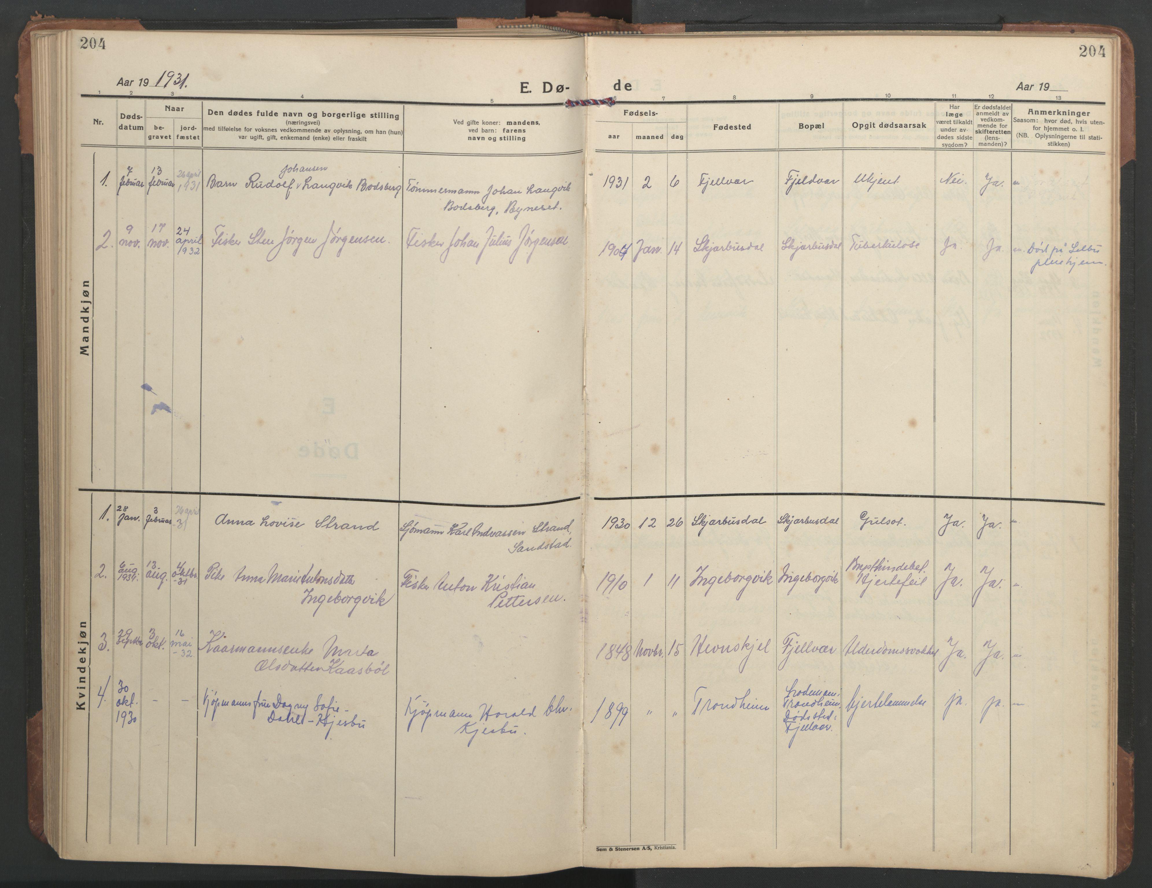 SAT, Ministerialprotokoller, klokkerbøker og fødselsregistre - Sør-Trøndelag, 638/L0569: Klokkerbok nr. 638C01, 1923-1961, s. 204