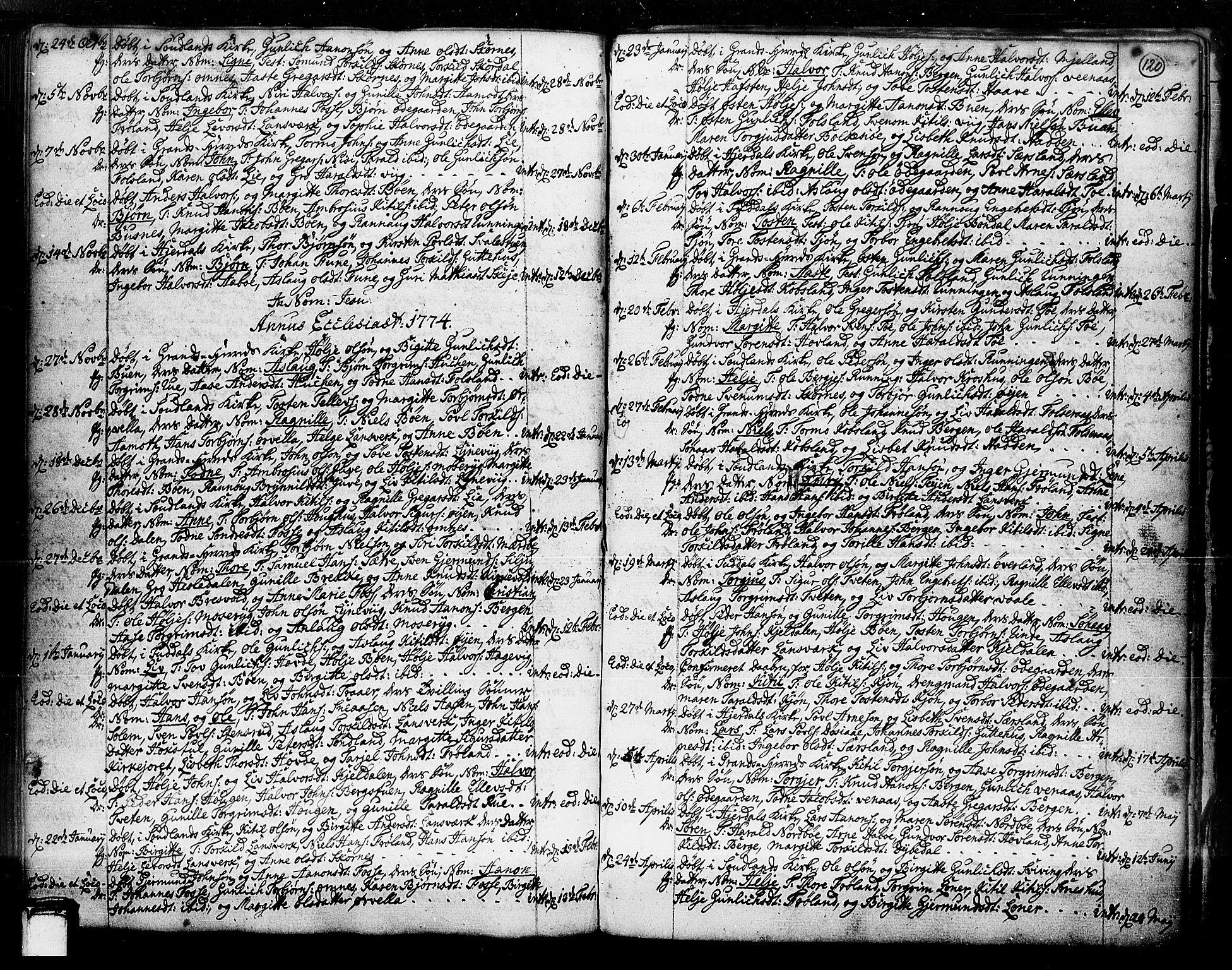 SAKO, Hjartdal kirkebøker, F/Fa/L0003: Ministerialbok nr. I 3, 1727-1775, s. 120