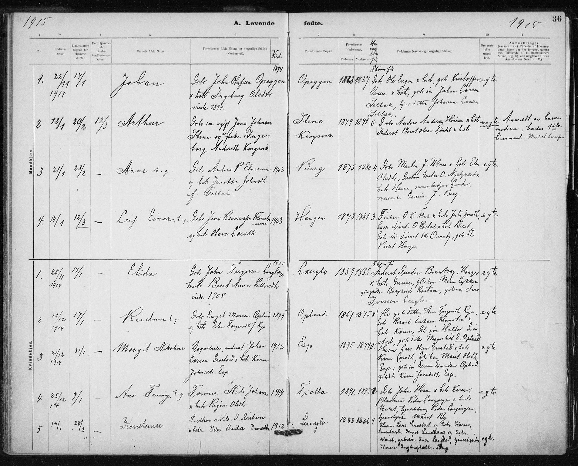 SAT, Ministerialprotokoller, klokkerbøker og fødselsregistre - Sør-Trøndelag, 612/L0381: Ministerialbok nr. 612A13, 1907-1923, s. 36