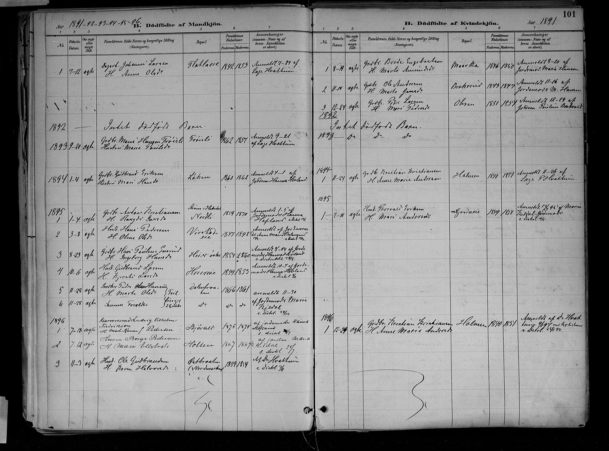 SAH, Jevnaker prestekontor, Ministerialbok nr. 10, 1891-1906, s. 101