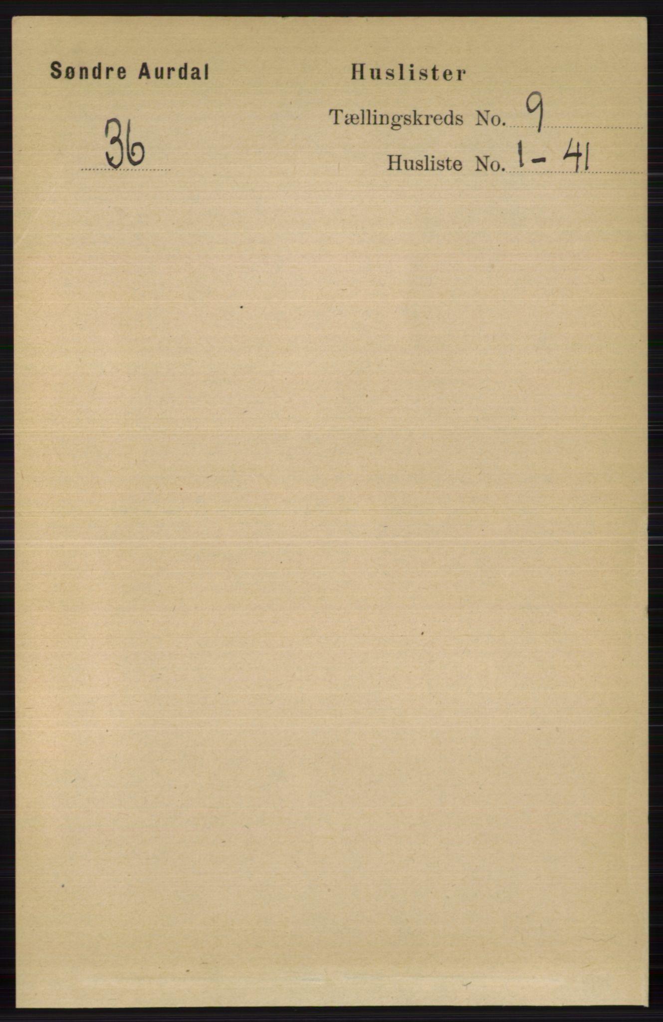 RA, Folketelling 1891 for 0540 Sør-Aurdal herred, 1891, s. 5494
