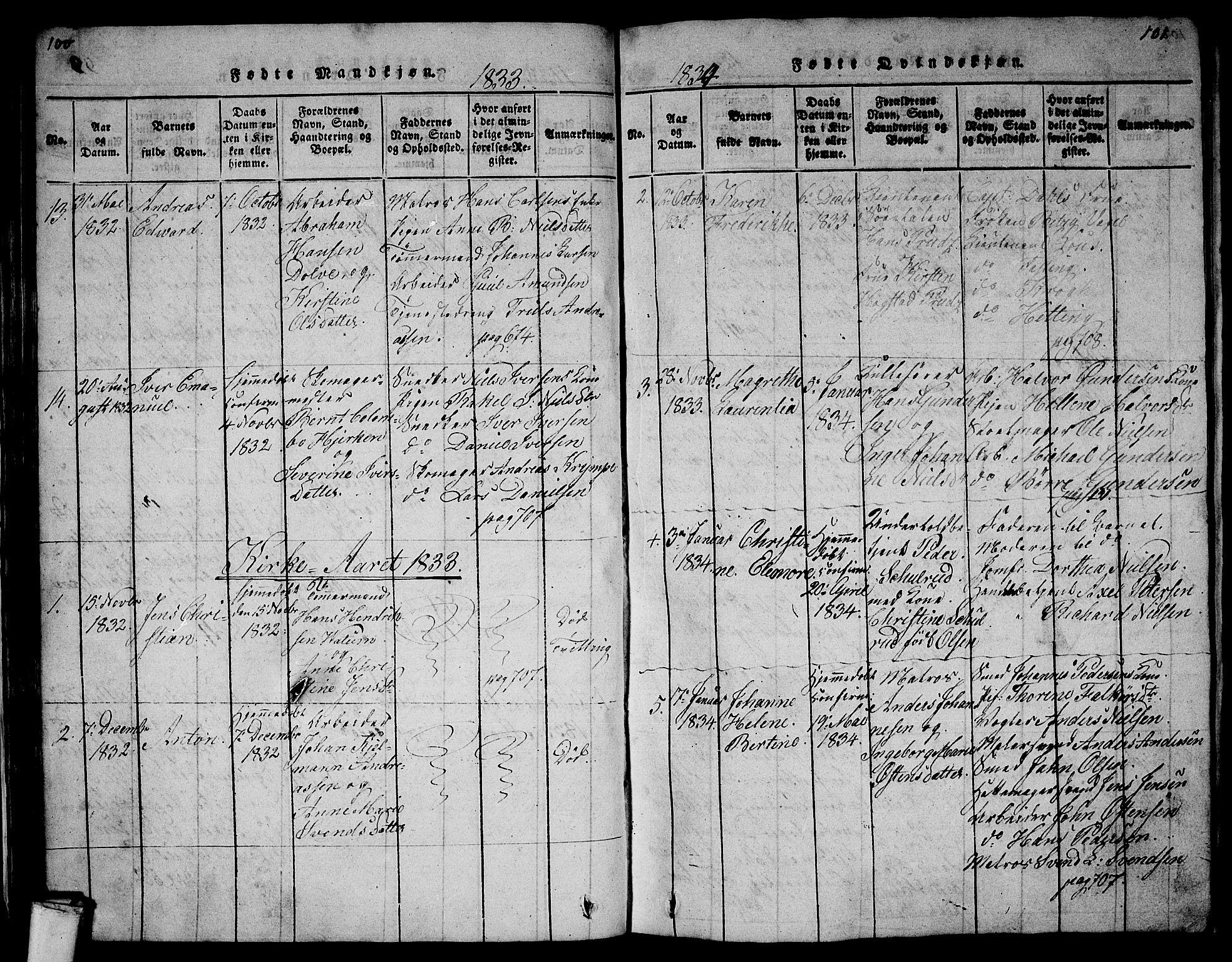 SAKO, Larvik kirkebøker, G/Gb/L0001: Klokkerbok nr. II 1, 1818-1843, s. 100-101