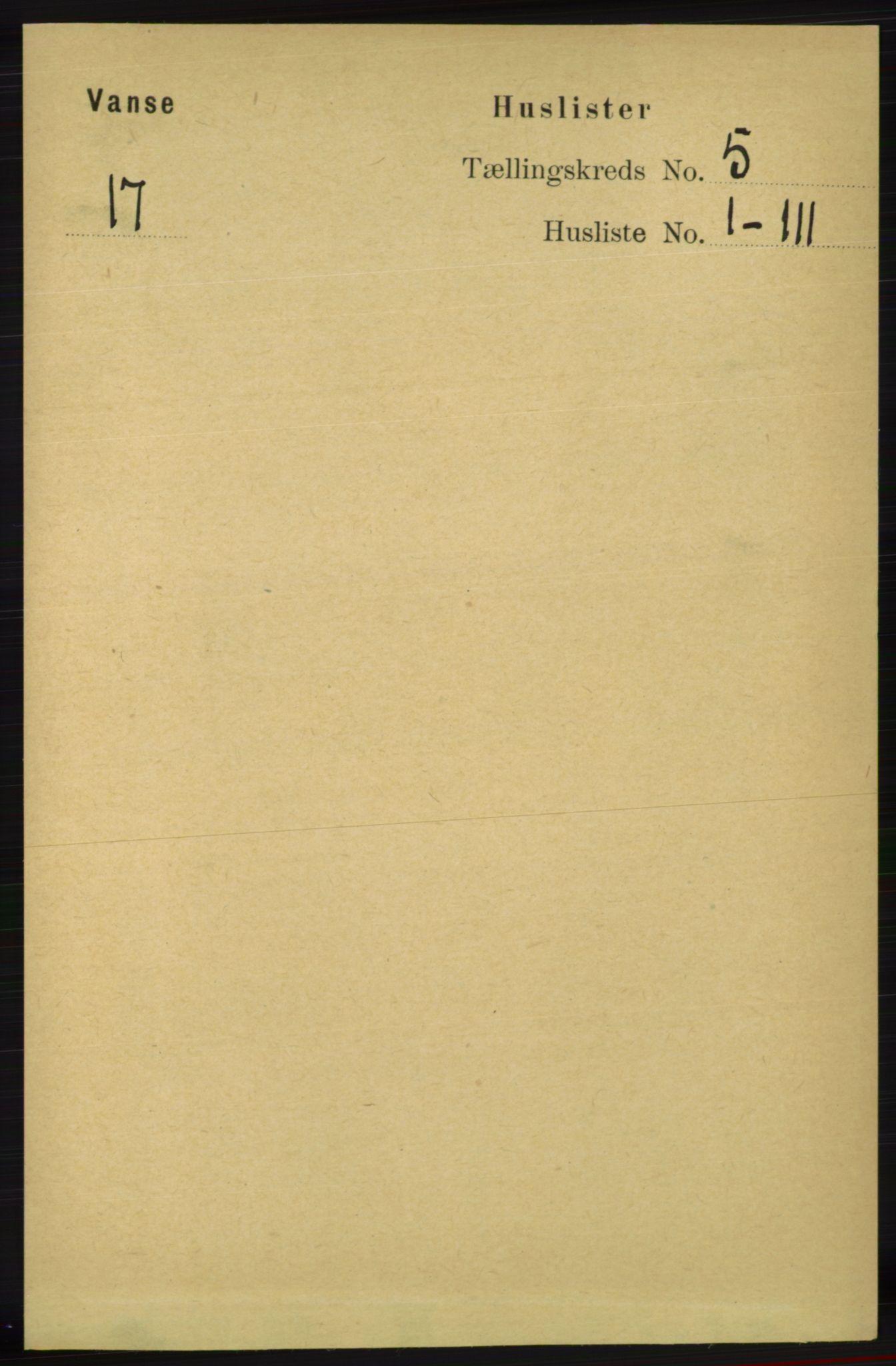 RA, Folketelling 1891 for 1041 Vanse herred, 1891, s. 2680