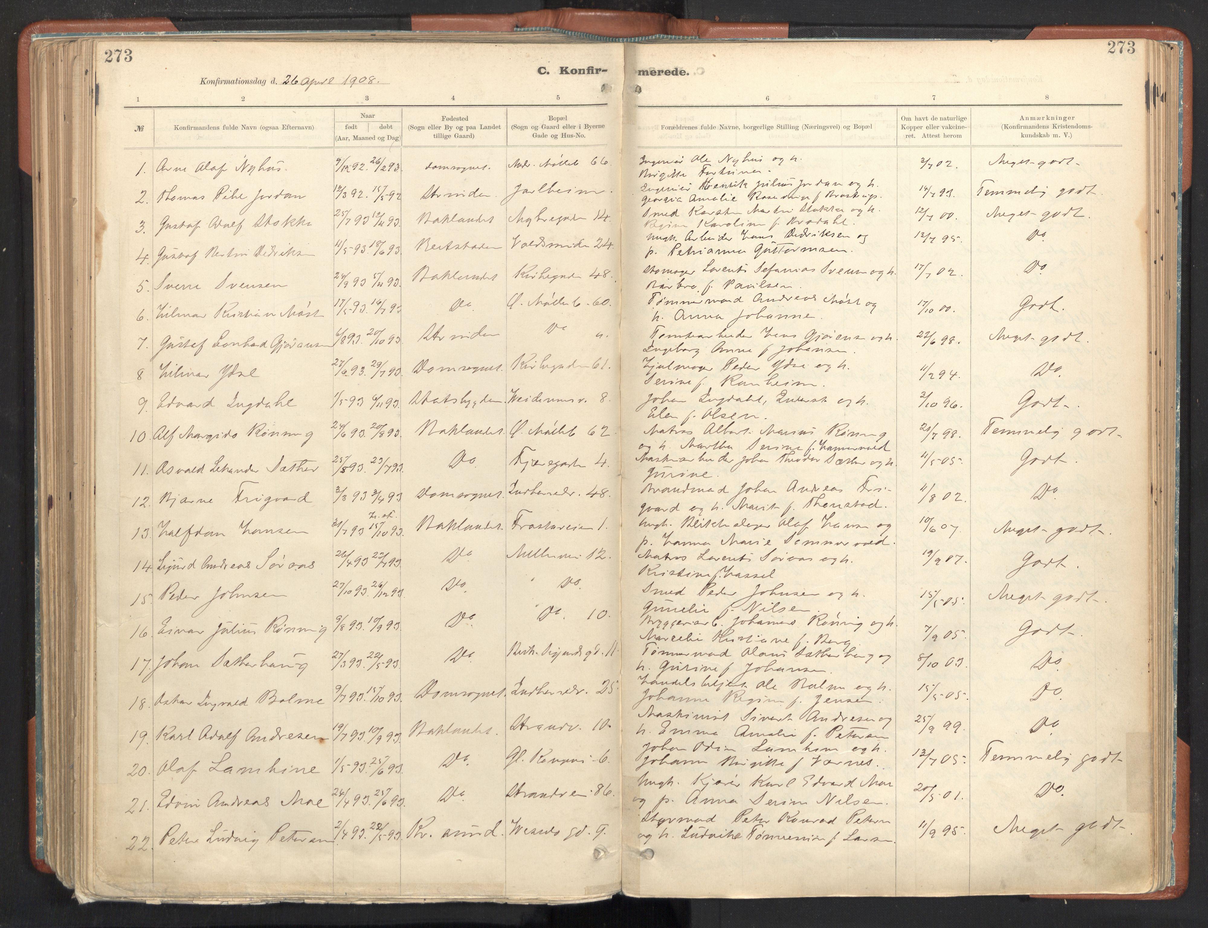 SAT, Ministerialprotokoller, klokkerbøker og fødselsregistre - Sør-Trøndelag, 605/L0243: Ministerialbok nr. 605A05, 1908-1923, s. 273