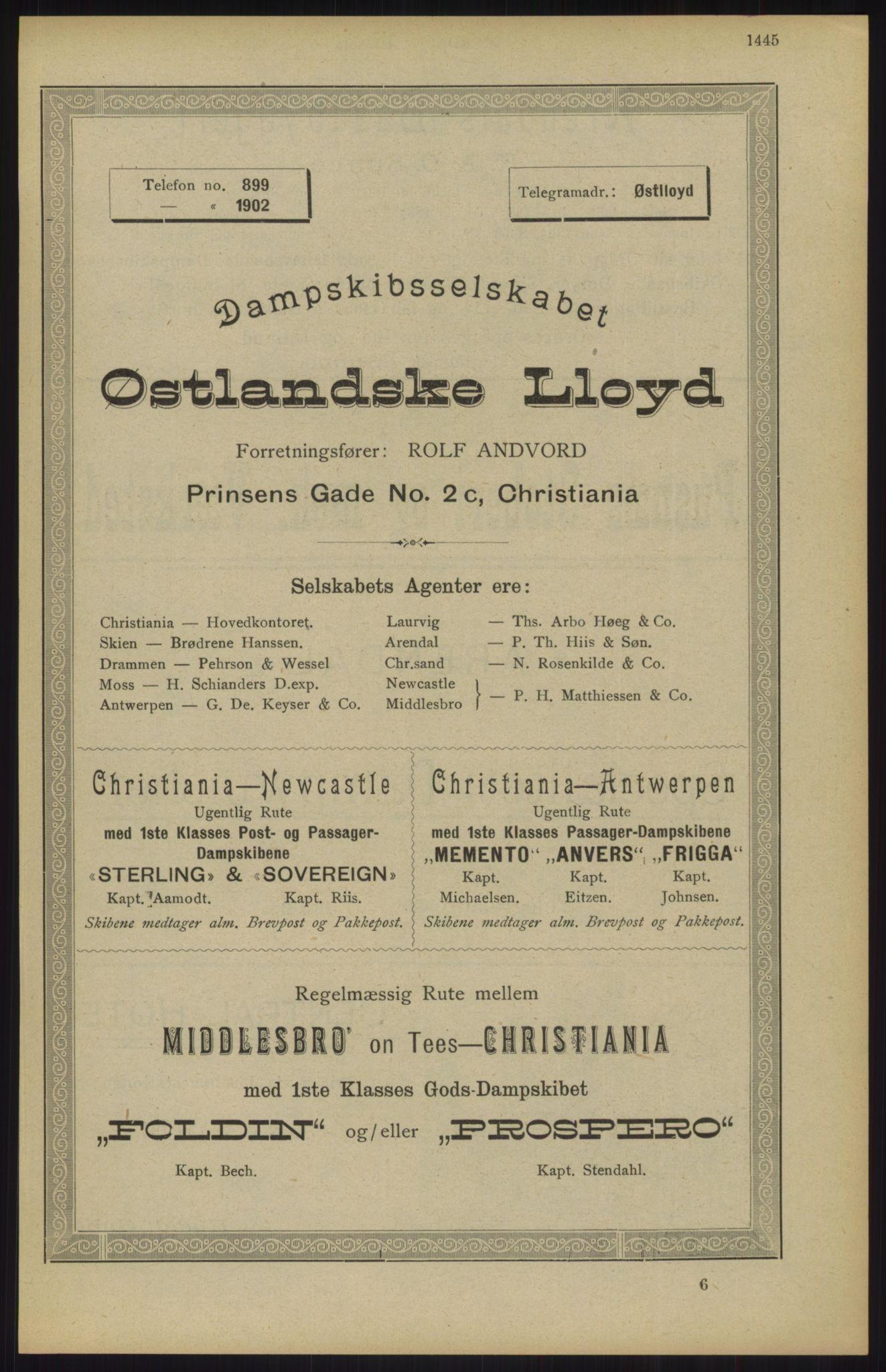 RA, Kristiania adressebok (publikasjon)*, 1904, s. 1445
