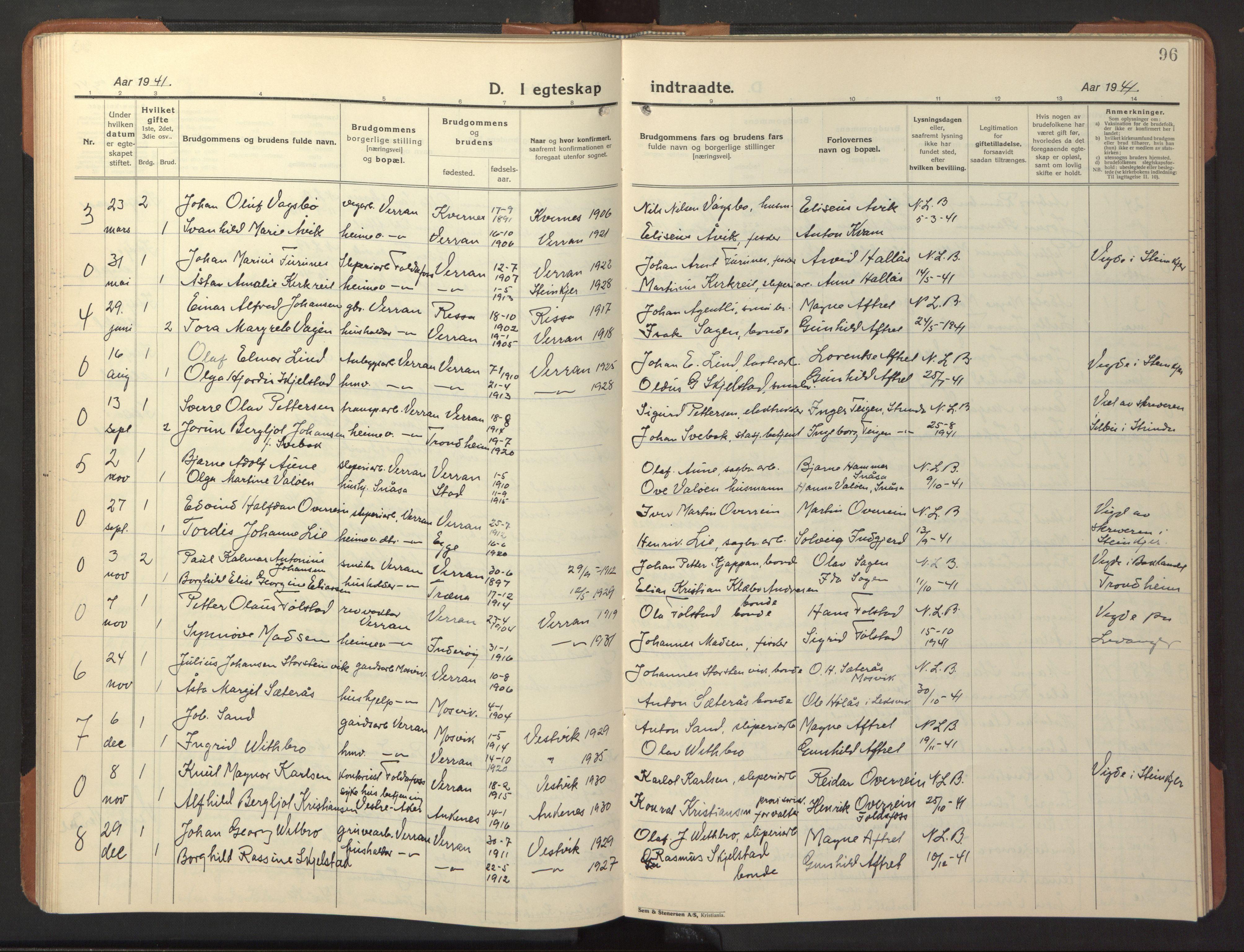 SAT, Ministerialprotokoller, klokkerbøker og fødselsregistre - Nord-Trøndelag, 744/L0425: Klokkerbok nr. 744C04, 1924-1947, s. 96