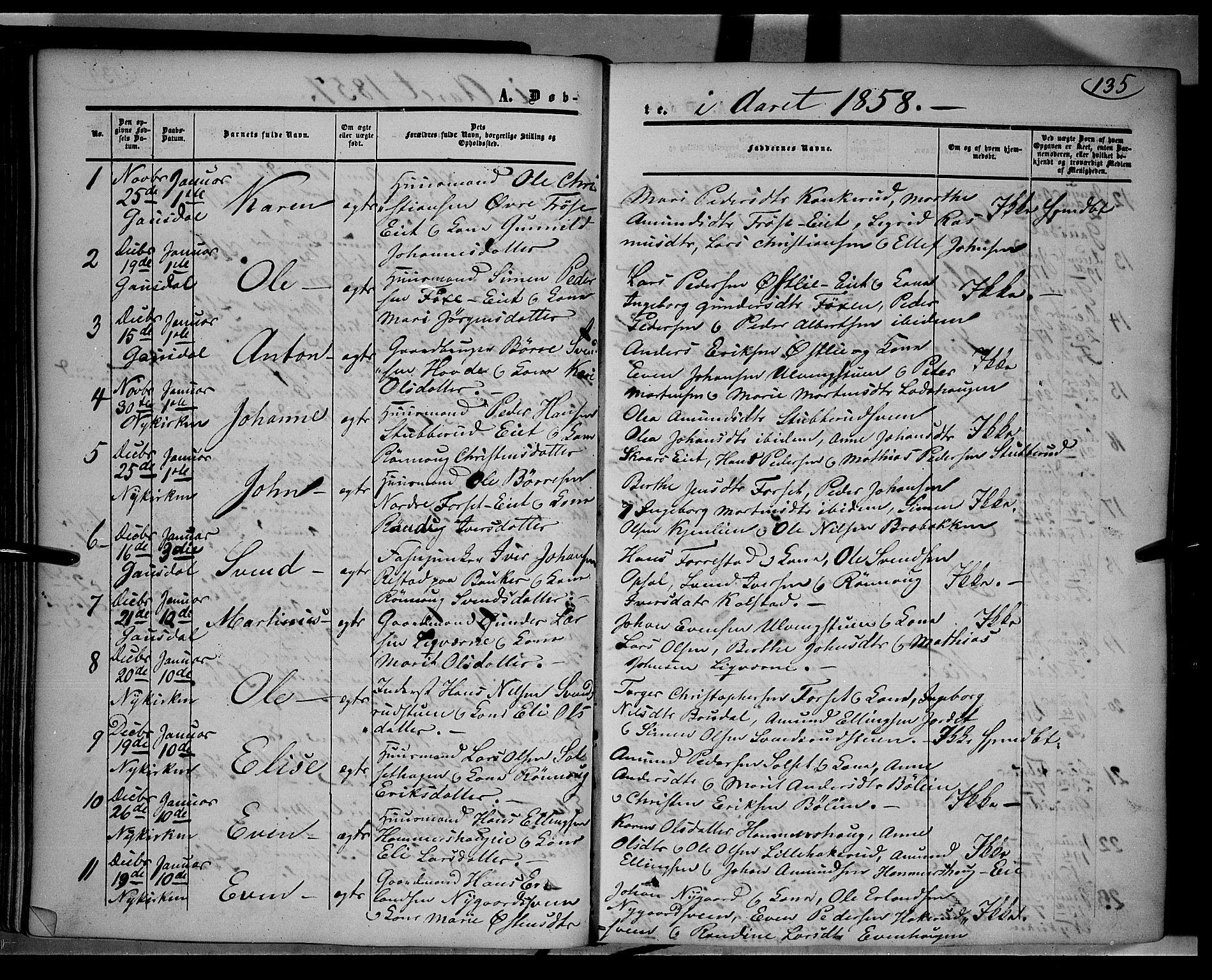 SAH, Gausdal prestekontor, Ministerialbok nr. 8, 1850-1861, s. 135