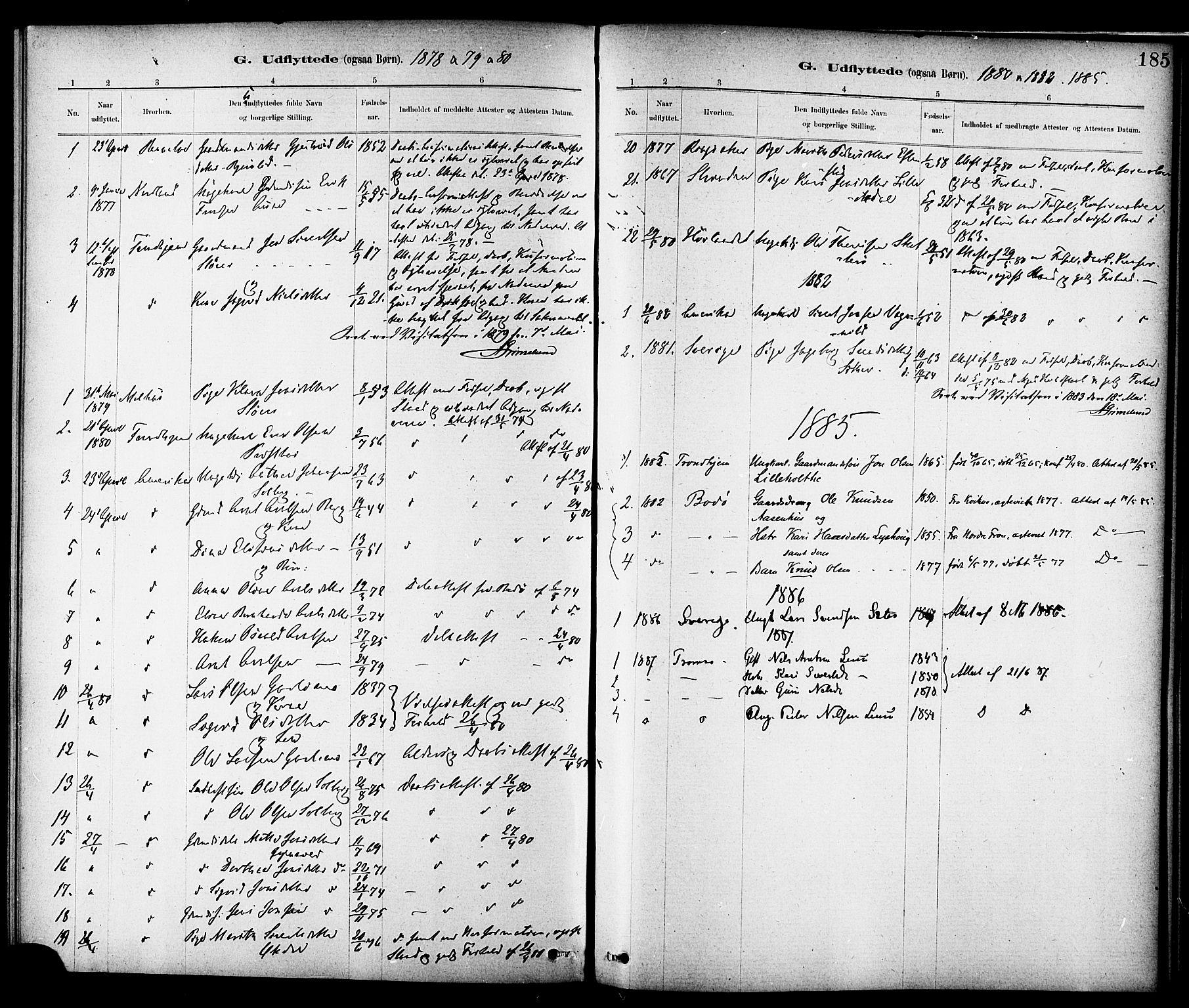 SAT, Ministerialprotokoller, klokkerbøker og fødselsregistre - Sør-Trøndelag, 689/L1040: Ministerialbok nr. 689A05, 1878-1890, s. 185