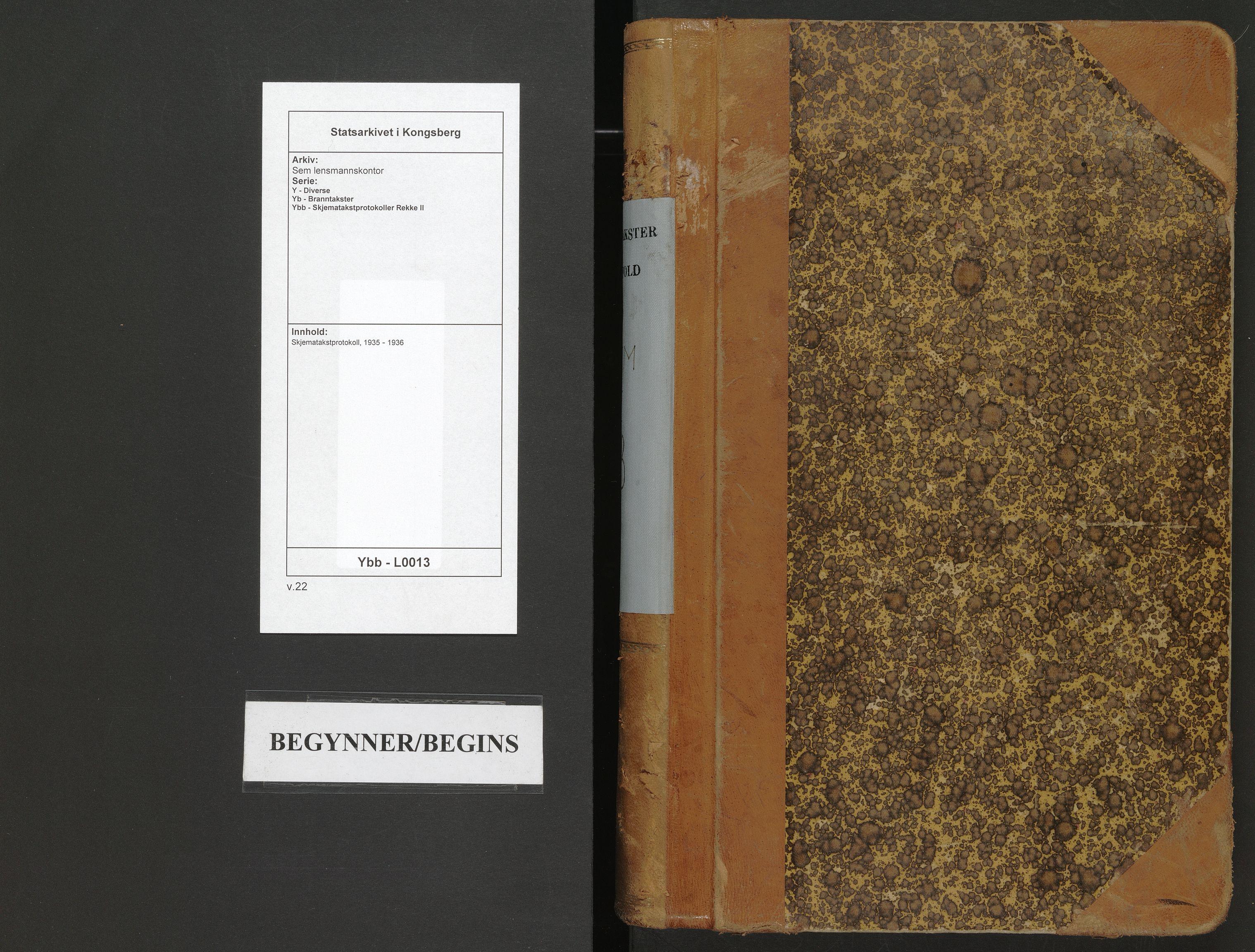 SAKO, Sem lensmannskontor, Y/Yb/Ybb/L0013: Skjematakstprotokoll, 1935-1936