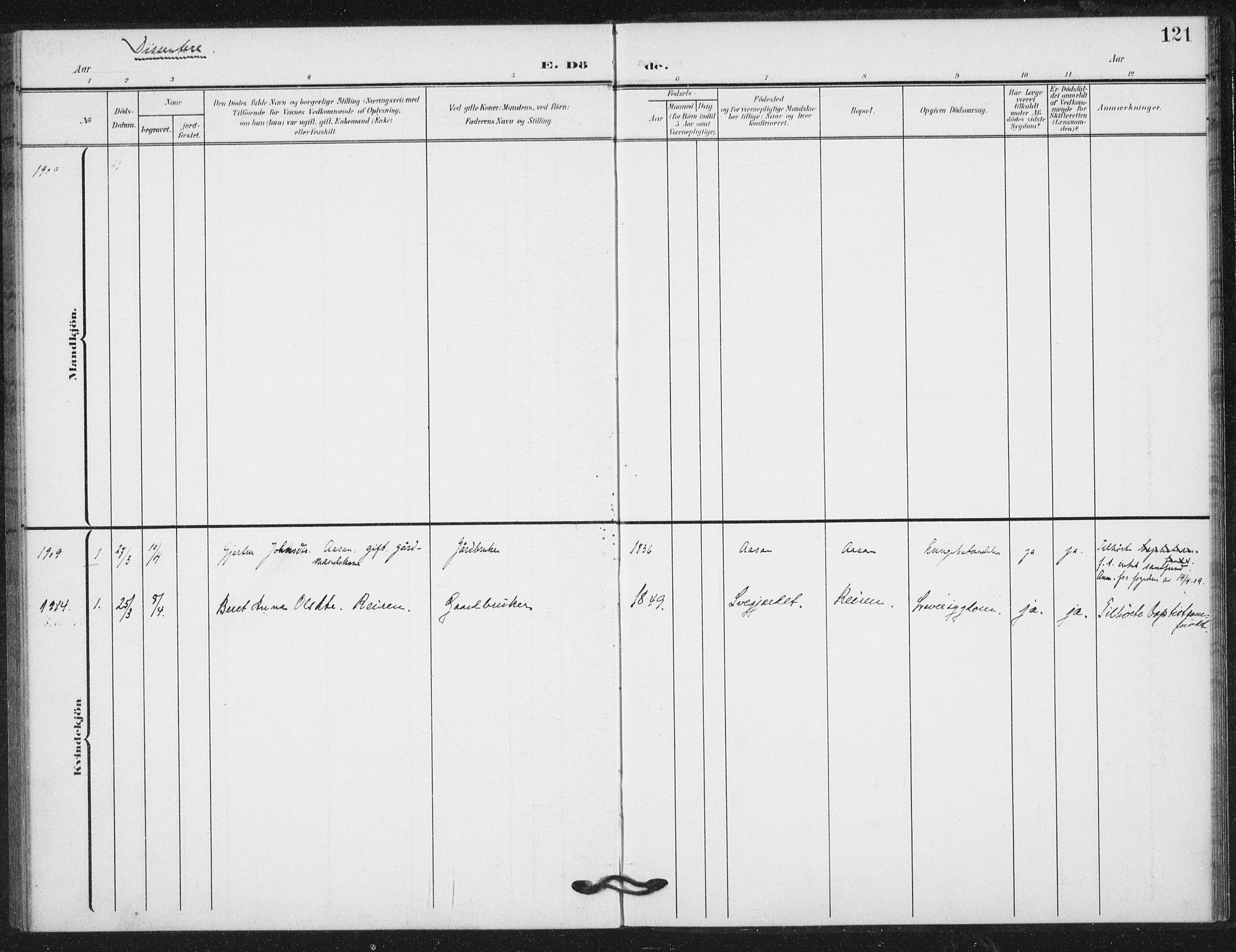 SAT, Ministerialprotokoller, klokkerbøker og fødselsregistre - Nord-Trøndelag, 724/L0264: Ministerialbok nr. 724A02, 1908-1915, s. 121