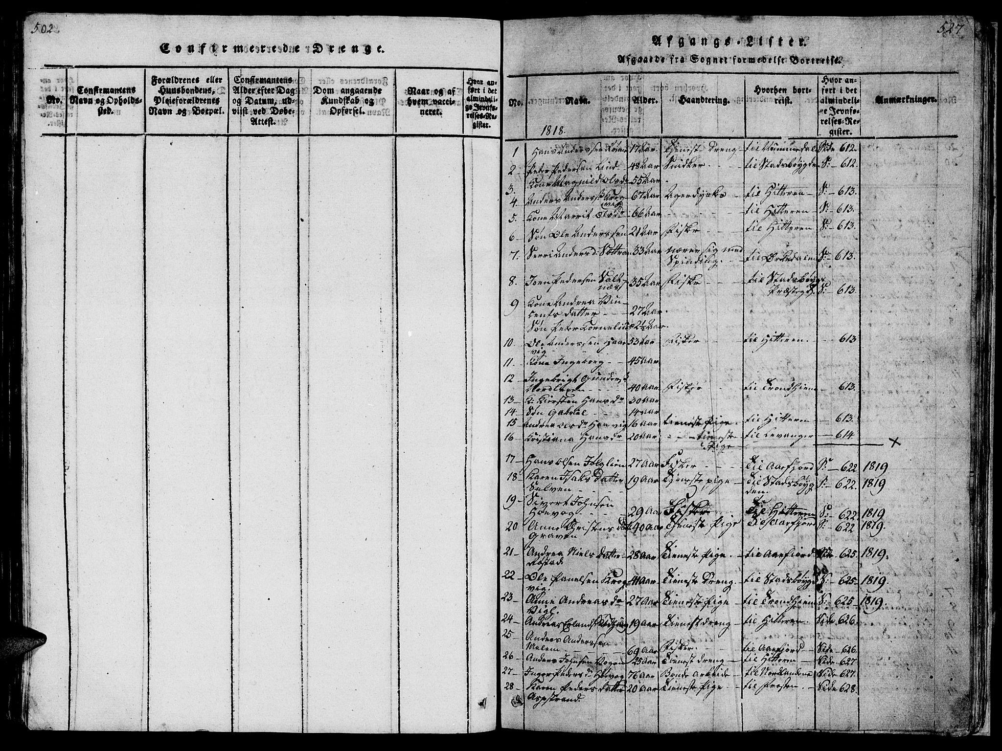 SAT, Ministerialprotokoller, klokkerbøker og fødselsregistre - Sør-Trøndelag, 659/L0744: Klokkerbok nr. 659C01, 1818-1825, s. 527
