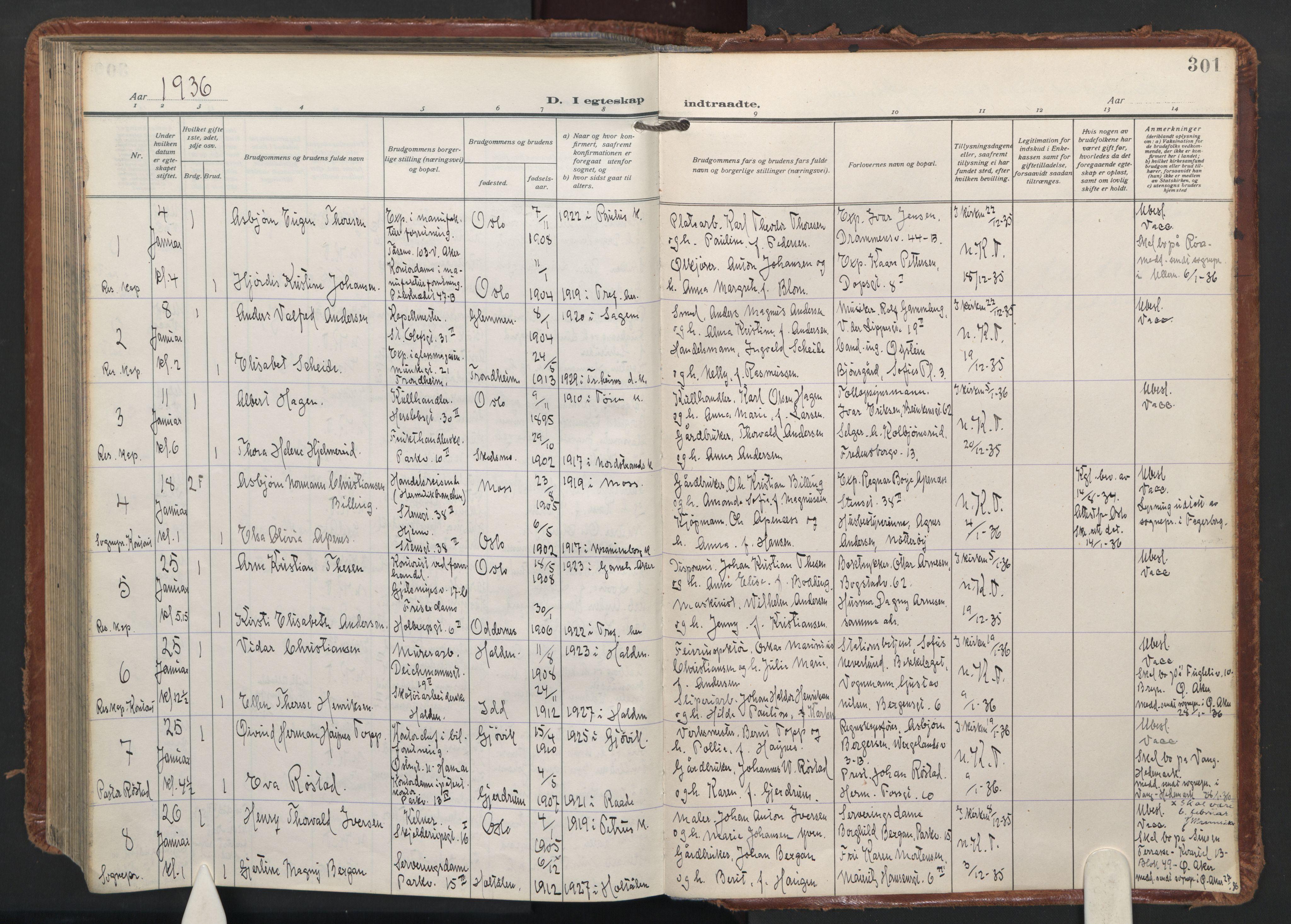 SAO, Trefoldighet prestekontor Kirkebøker, F/Fc/L0009: Ministerialbok nr. III 9, 1922-1936, s. 301