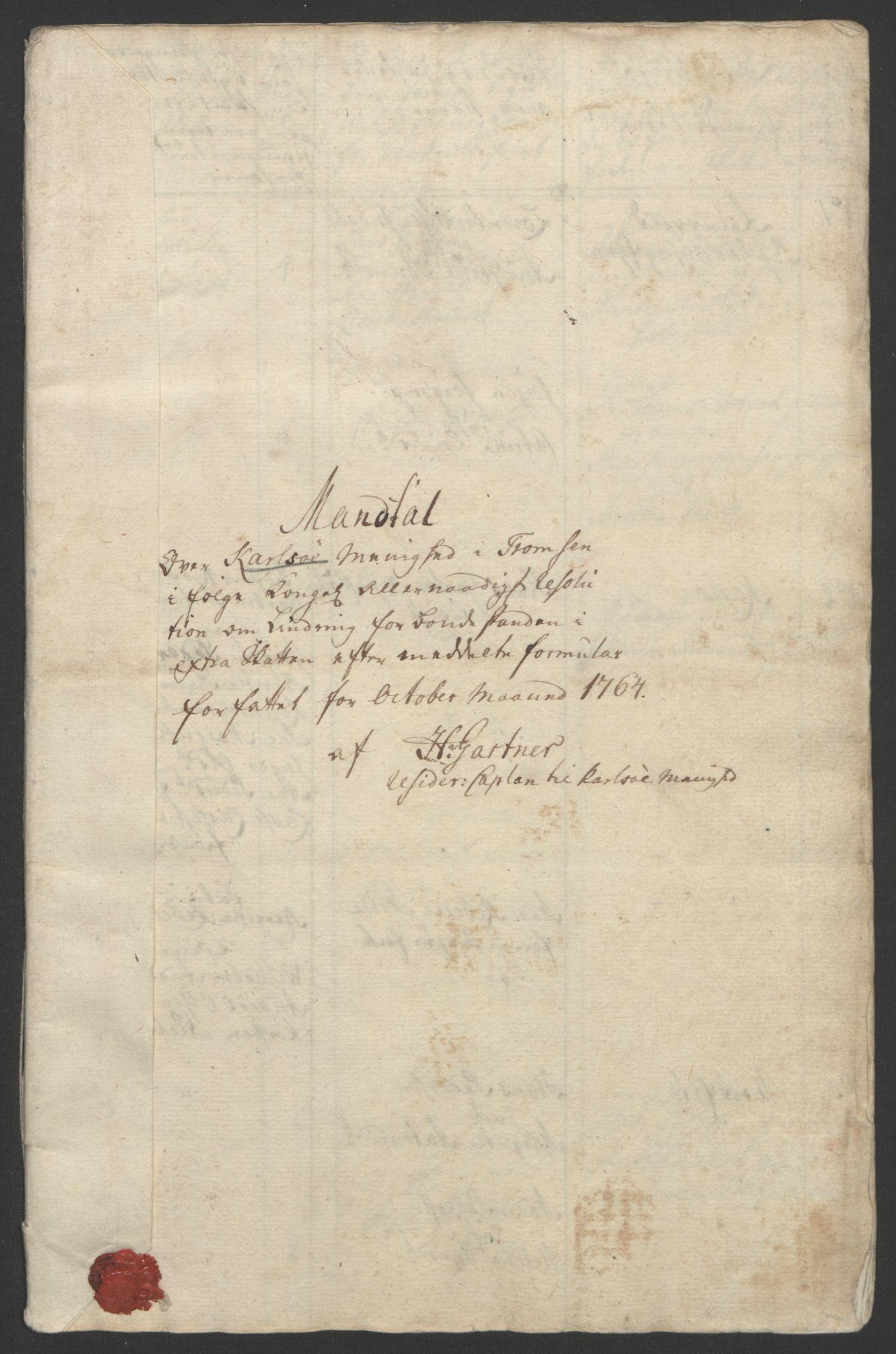 RA, Rentekammeret inntil 1814, Realistisk ordnet avdeling, Ol/L0022b: [Gg 10]: Ekstraskatten, 23.09.1762. Senja og Troms, 1765-1768, s. 87