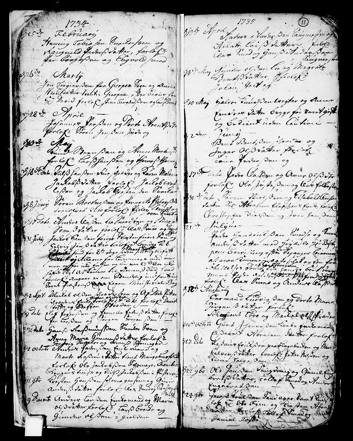 SAKO, Skien kirkebøker, F/Fa/L0002: Ministerialbok nr. 2, 1716-1757, s. 11