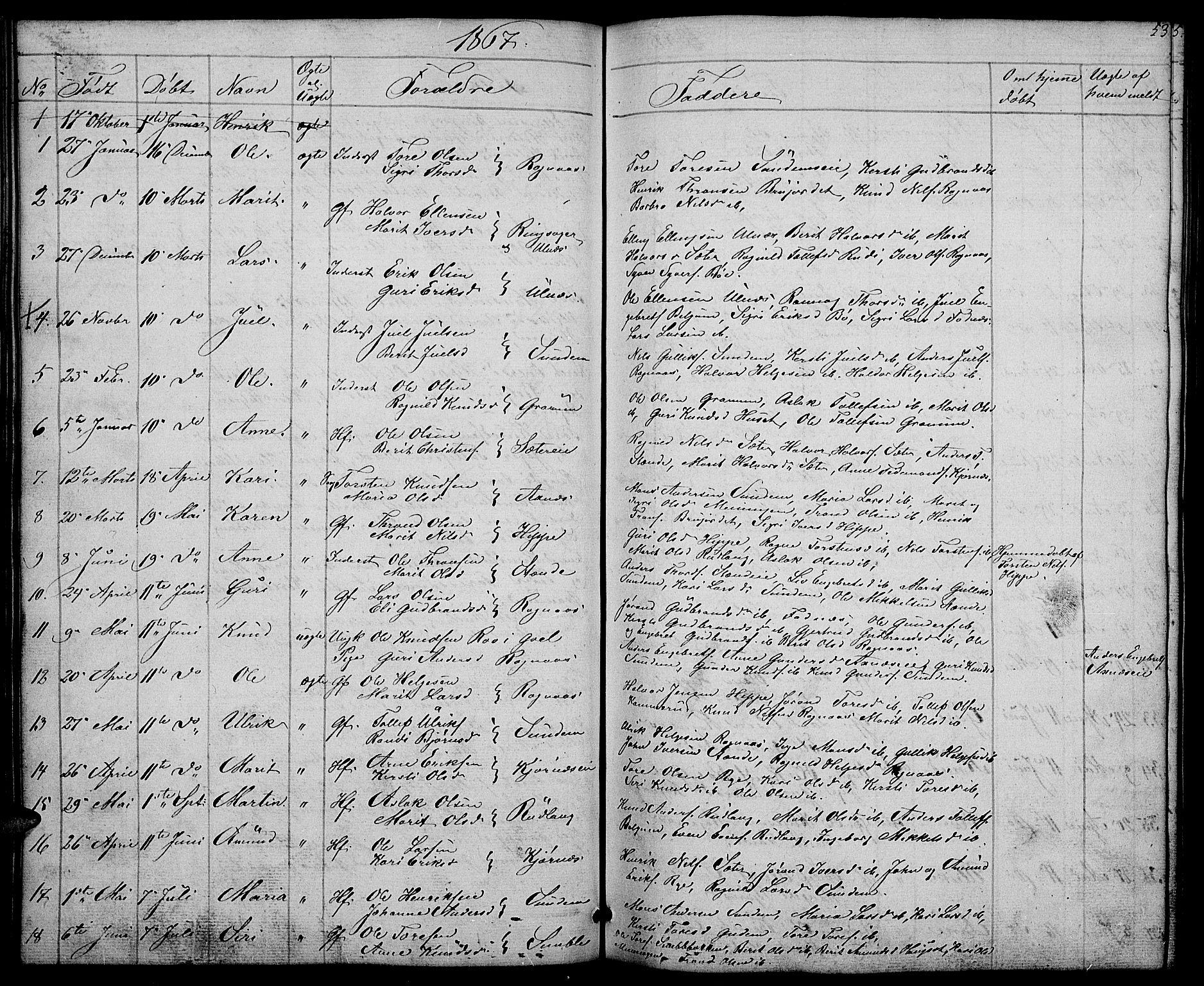 SAH, Nord-Aurdal prestekontor, Klokkerbok nr. 4, 1842-1882, s. 53