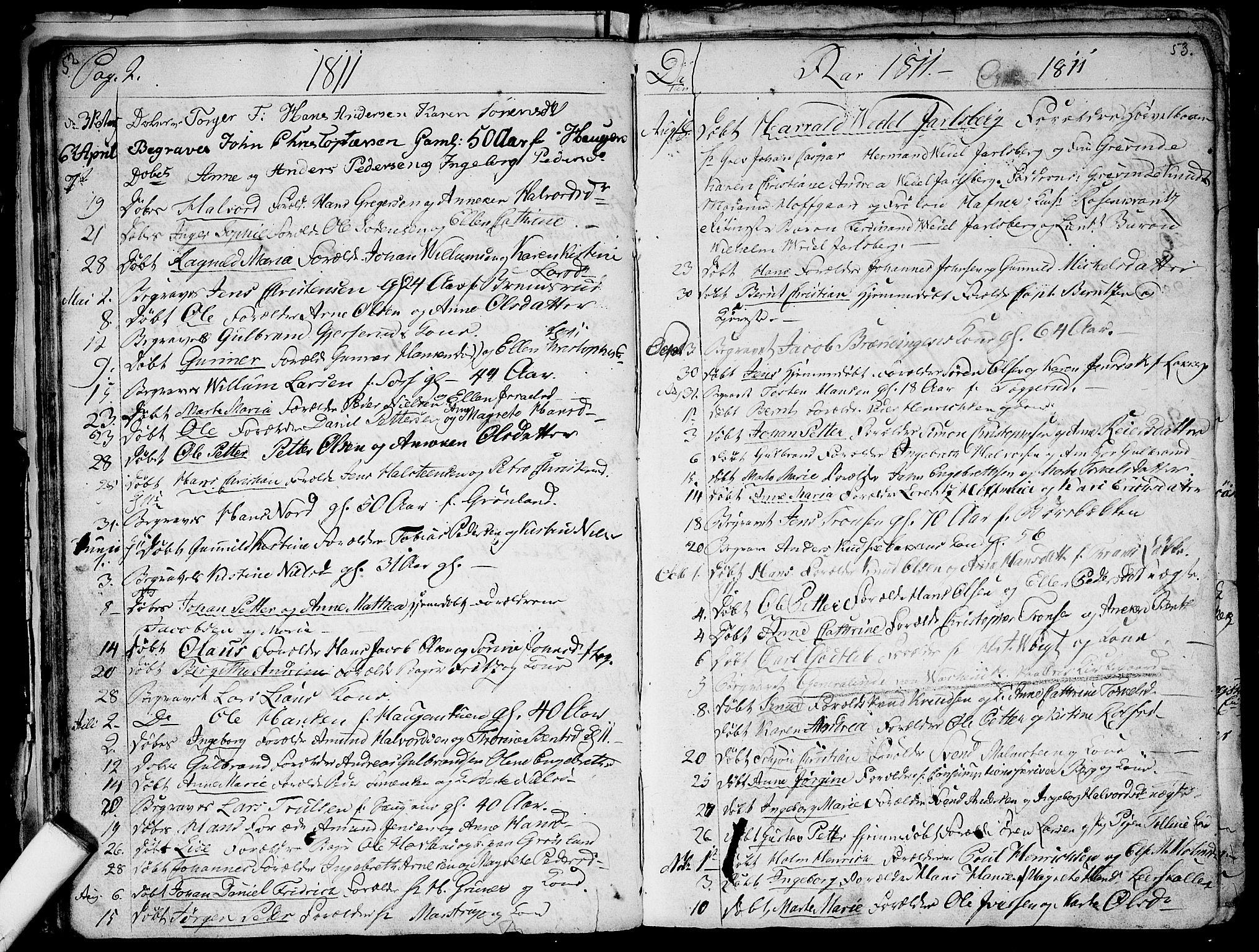SAO, Aker prestekontor kirkebøker, G/L0001: Klokkerbok nr. 1, 1796-1826, s. 52-53