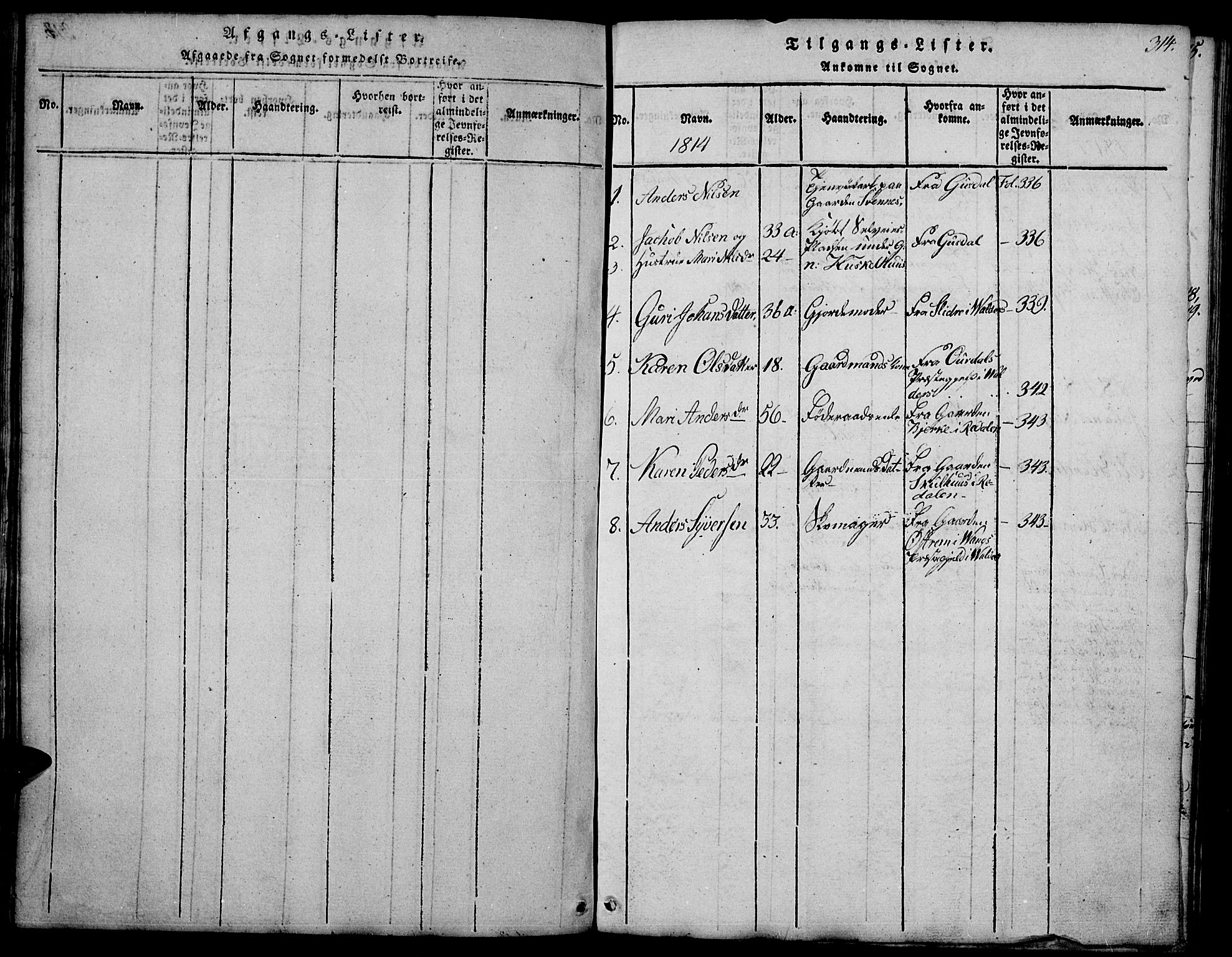SAH, Biri prestekontor, Klokkerbok nr. 1, 1814-1828, s. 314