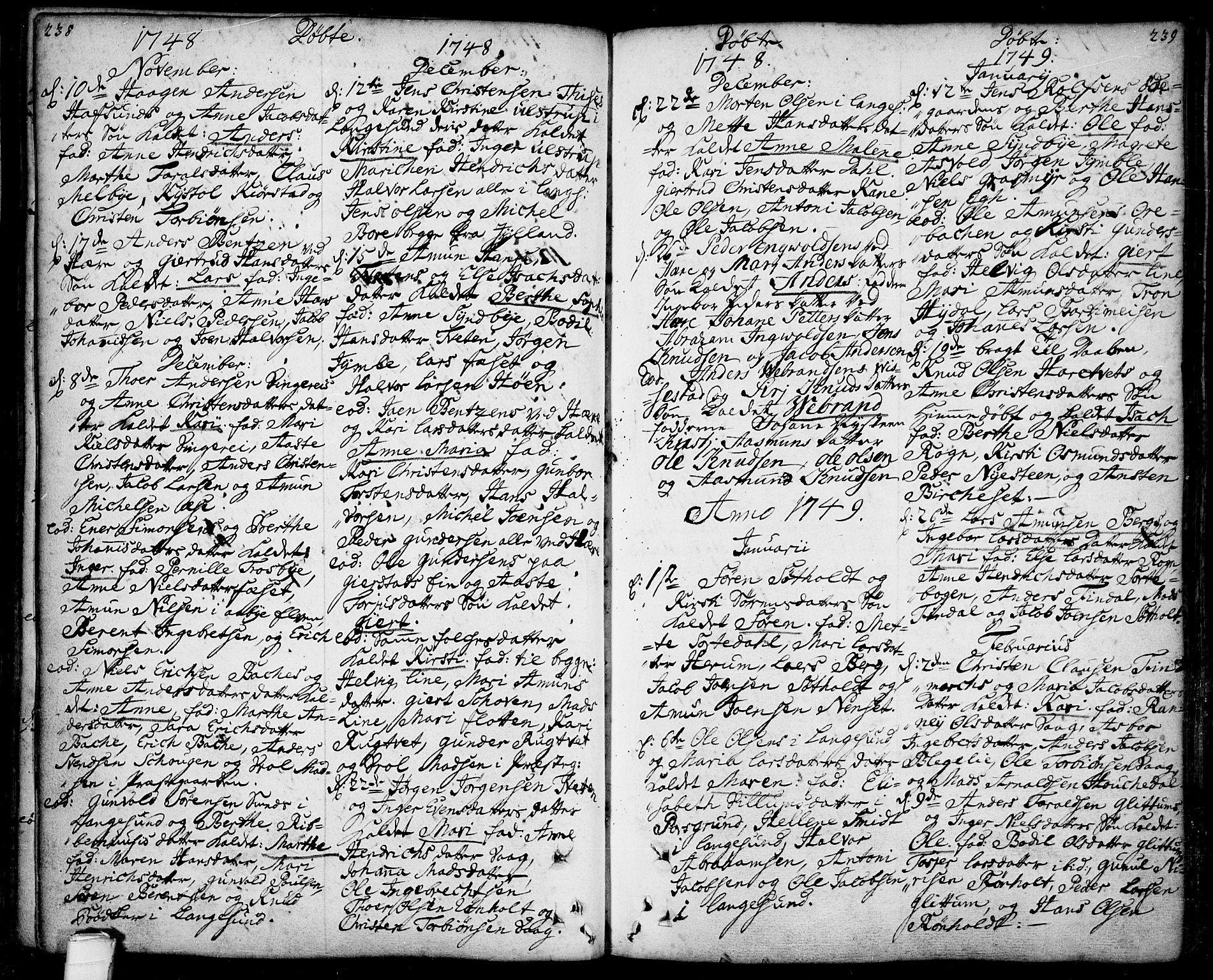 SAKO, Bamble kirkebøker, F/Fa/L0001: Ministerialbok nr. I 1, 1702-1774, s. 238-239