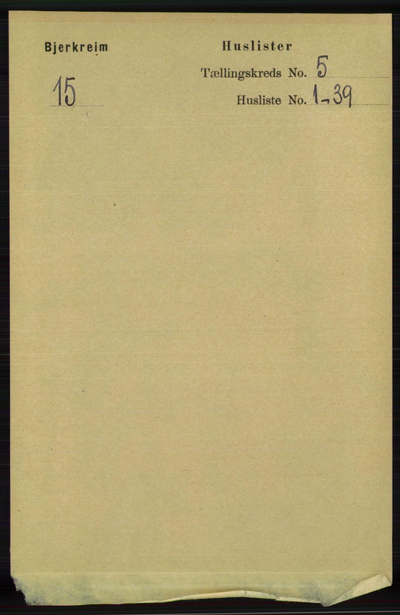 RA, Folketelling 1891 for 1114 Bjerkreim herred, 1891, s. 1652