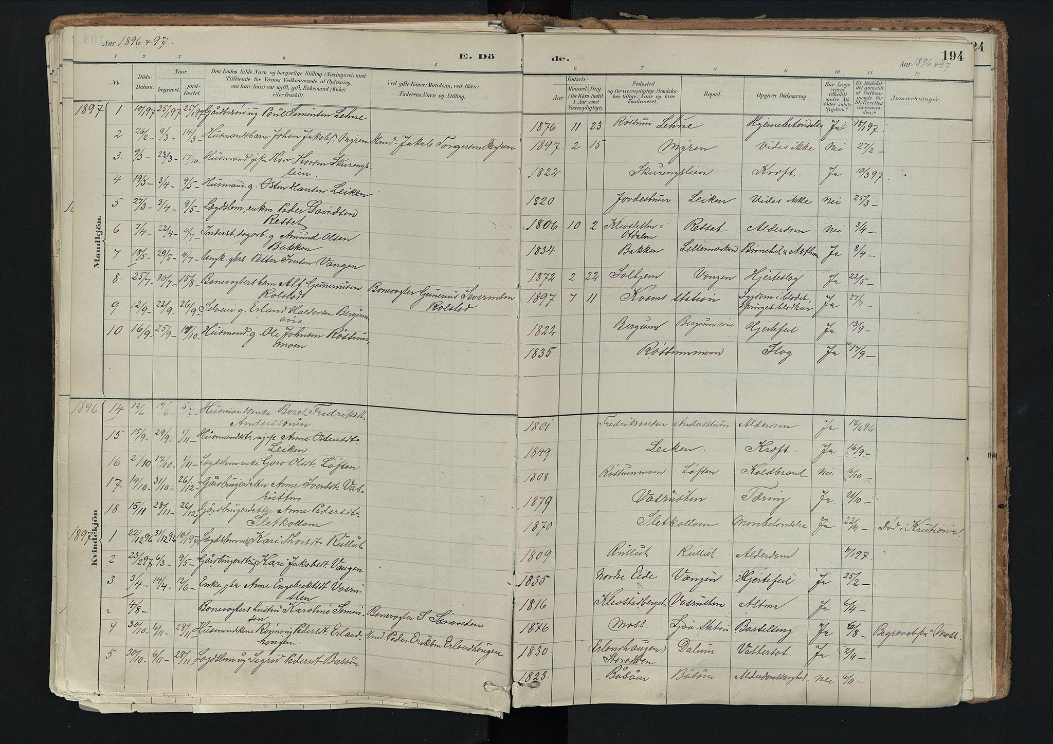 SAH, Nord-Fron prestekontor, Ministerialbok nr. 3, 1884-1914, s. 194