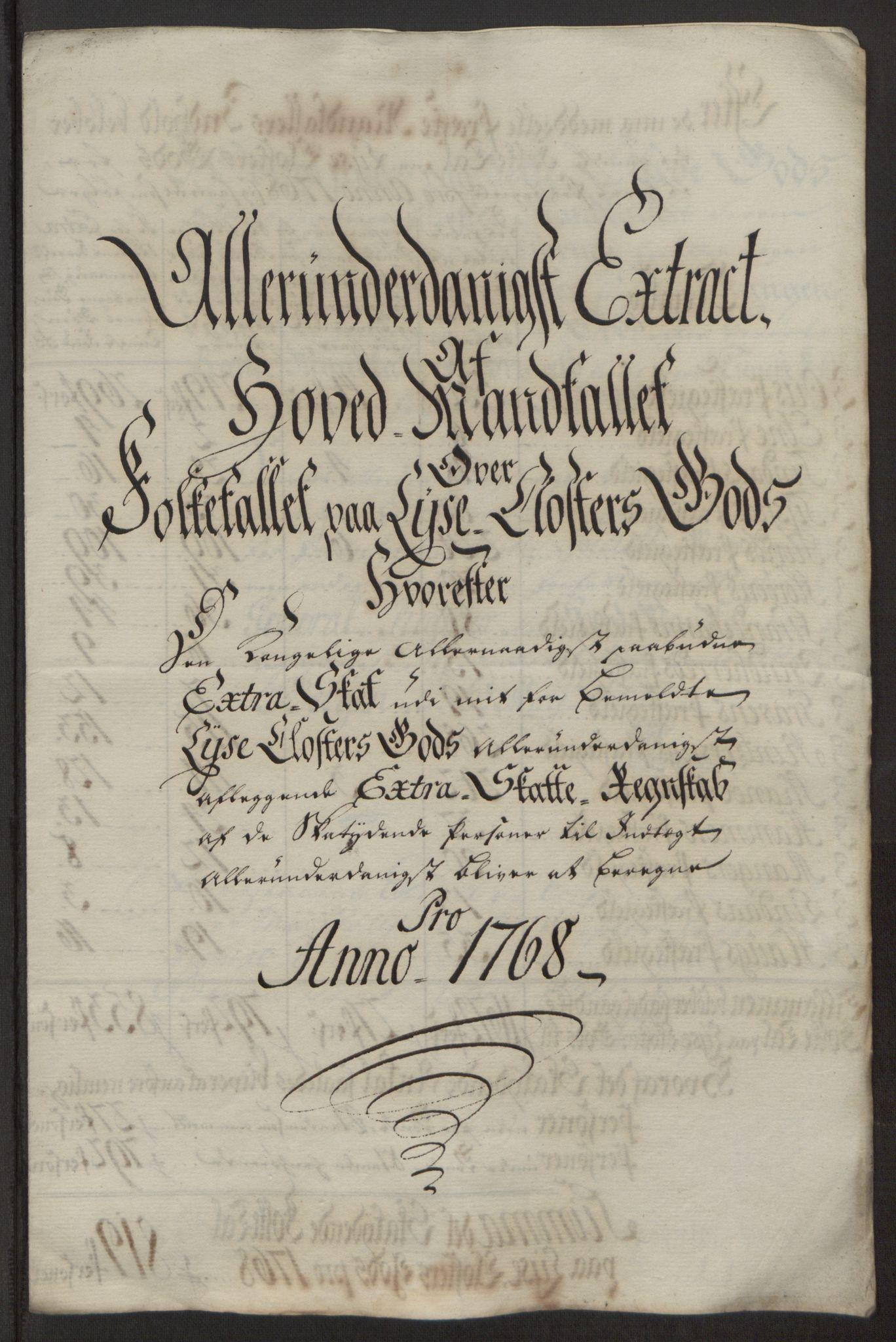 RA, Rentekammeret inntil 1814, Reviderte regnskaper, Fogderegnskap, R50/L3180: Ekstraskatten Lyse kloster, 1762-1783, s. 194