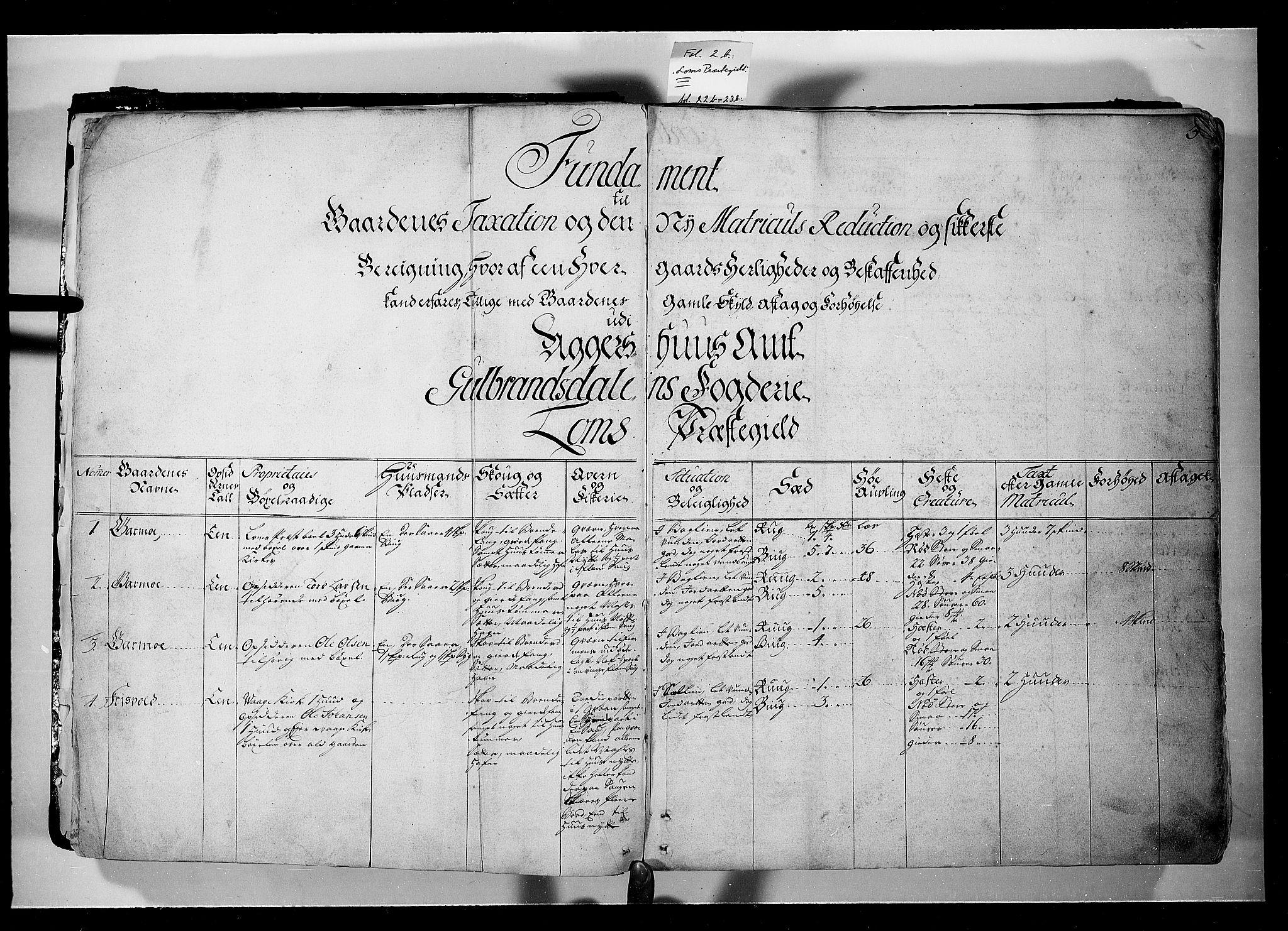 RA, Rentekammeret inntil 1814, Realistisk ordnet avdeling, N/Nb/Nbf/L0107: Gudbrandsdalen eksaminasjonsprotokoll, 1723, s. 2b-3a