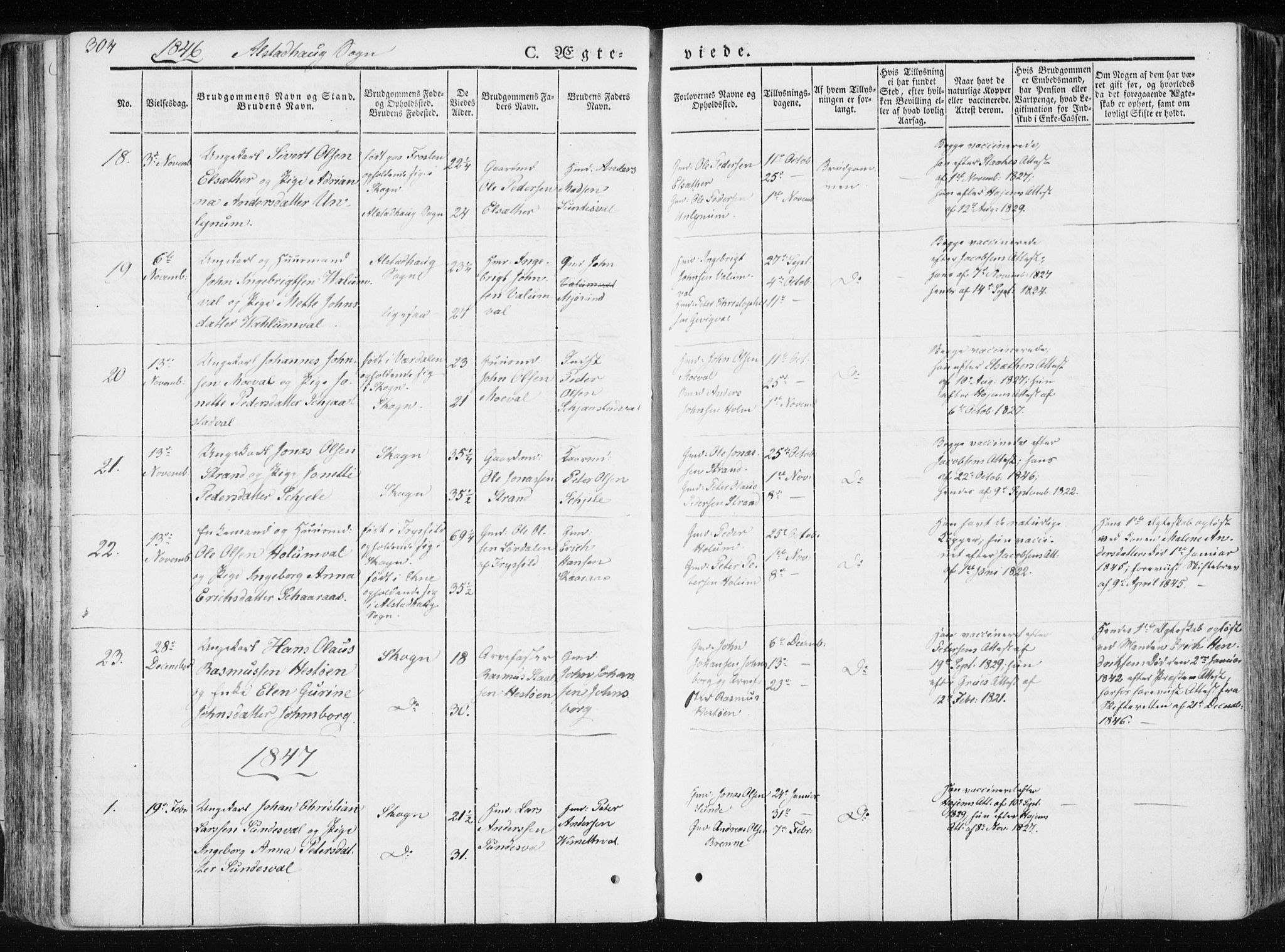 SAT, Ministerialprotokoller, klokkerbøker og fødselsregistre - Nord-Trøndelag, 717/L0154: Ministerialbok nr. 717A06 /1, 1836-1849, s. 304