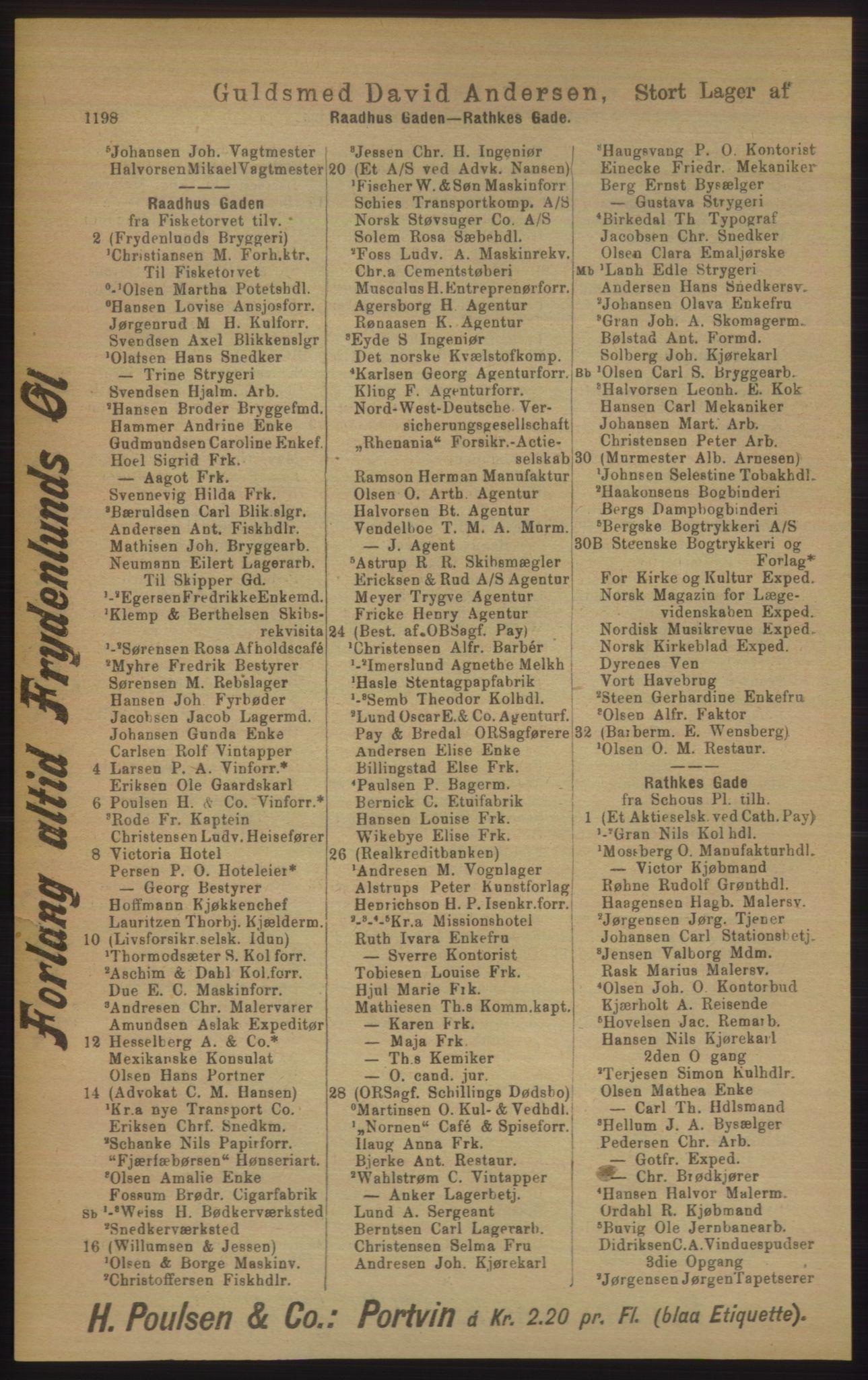 PUBL, Kristiania/Oslo adressebok, 1906, s. 1198